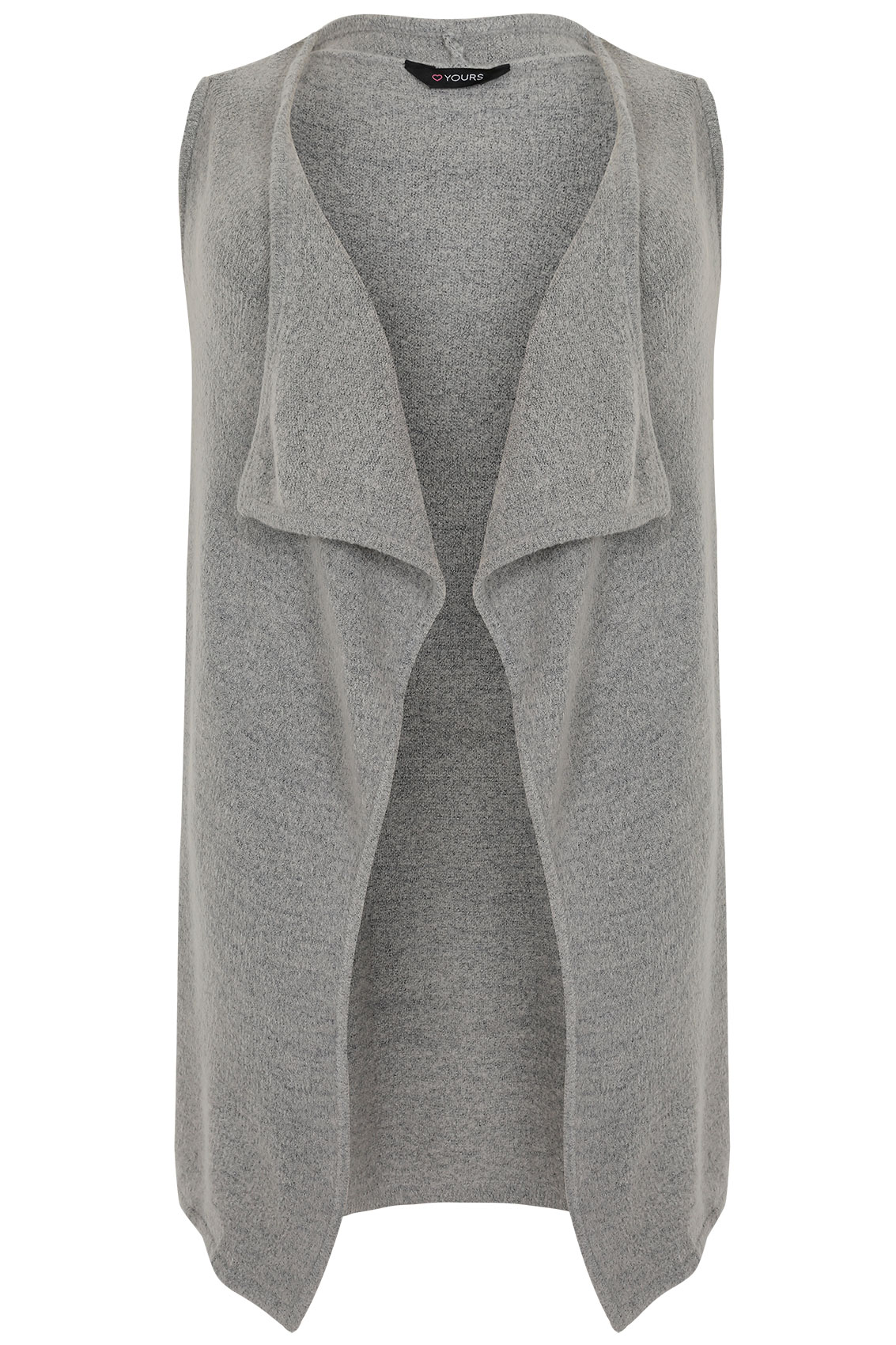 Grey Knitted Sleeveless Waterfall Waistcoat Wrap plus Size 16 to 32