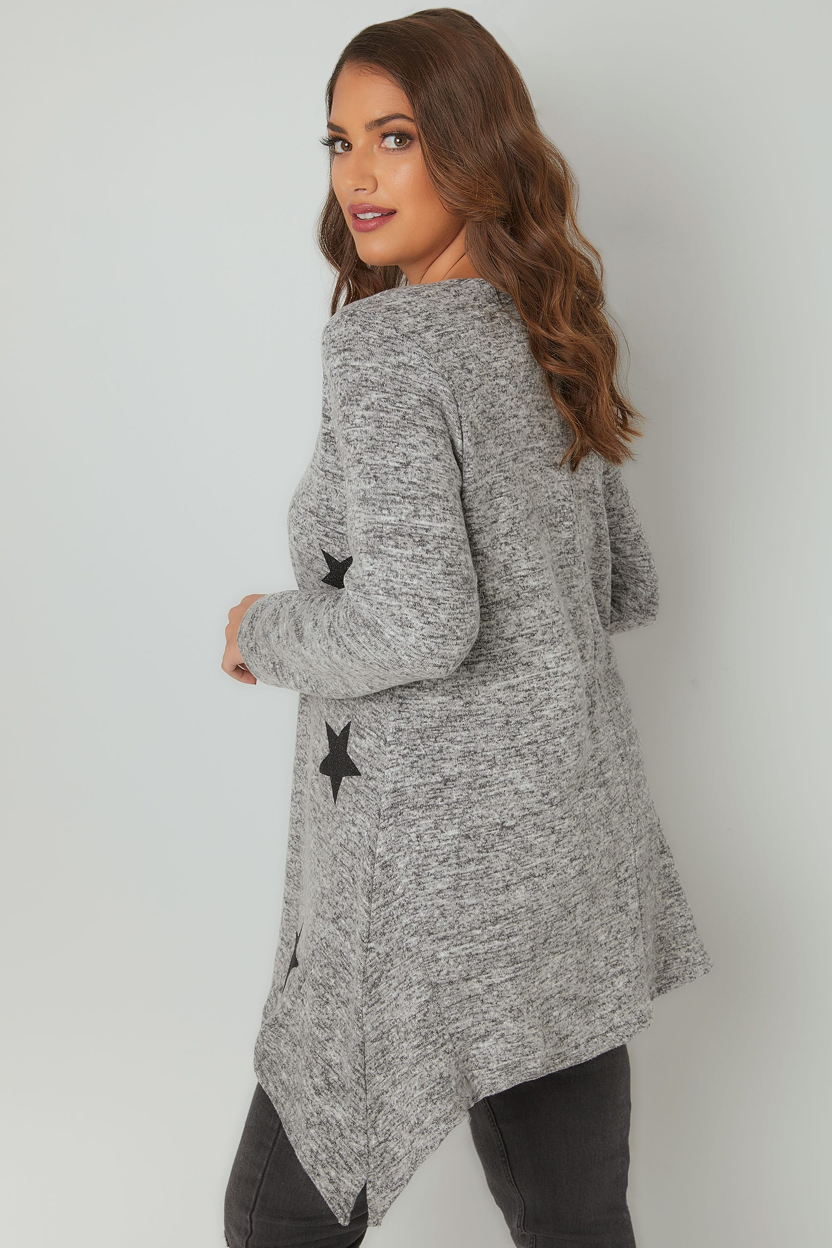 Grey Textured Star Print Longline Knitted Top With Hanky Hem
