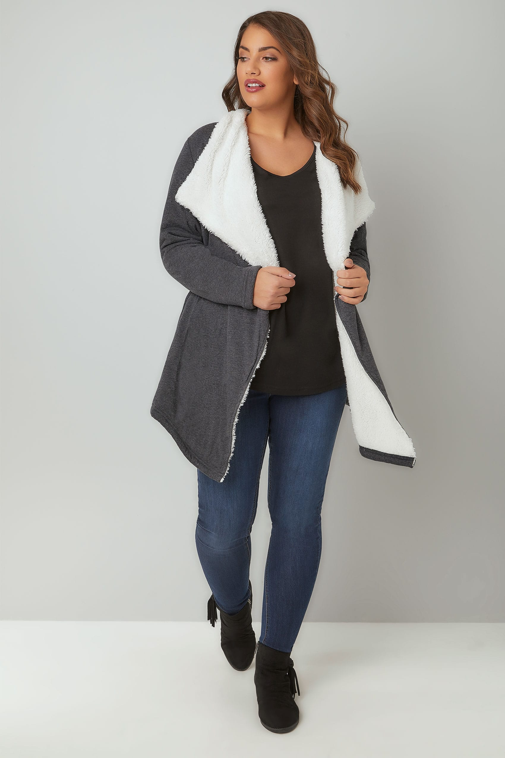 Grey Longline Waterfall Fleece Cardigan, Plus size 16 to 36