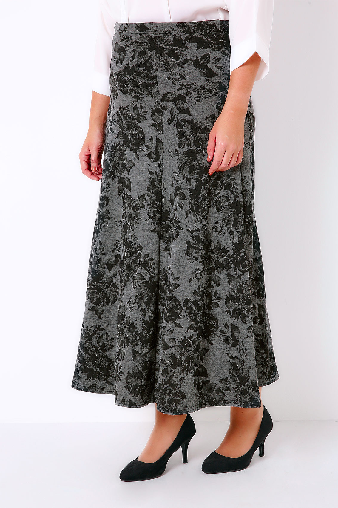 grey marl black floral print jersey maxi skirt with