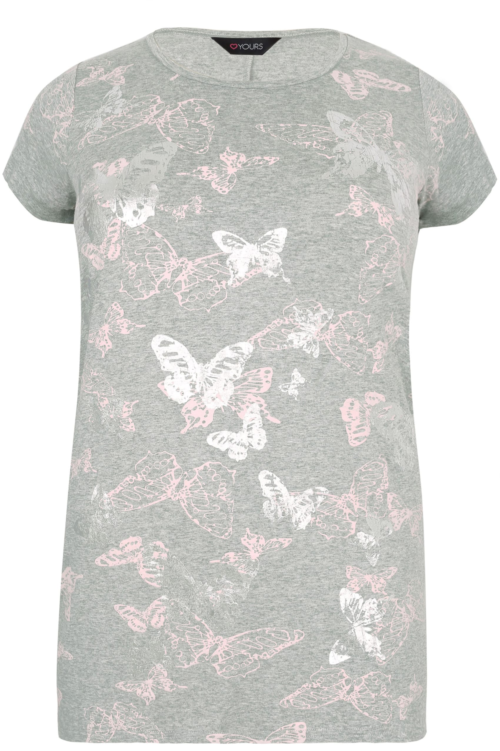 Grey marl butterfly print t shirt with foil detail plus for Quick print t shirts