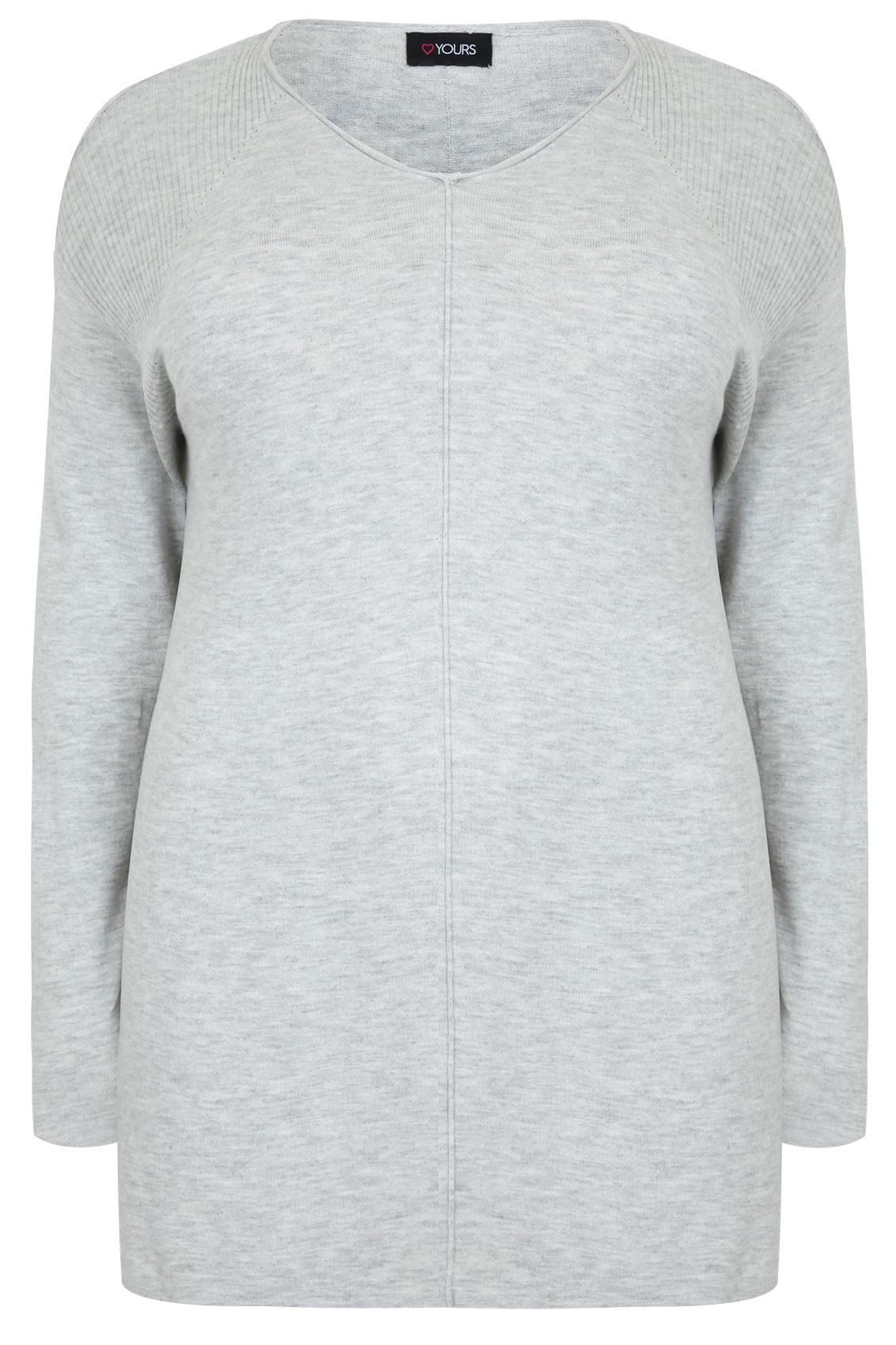 Grey Marl Knitted Longline Jumper With Ribbing Detail Plus Size 16 to 32