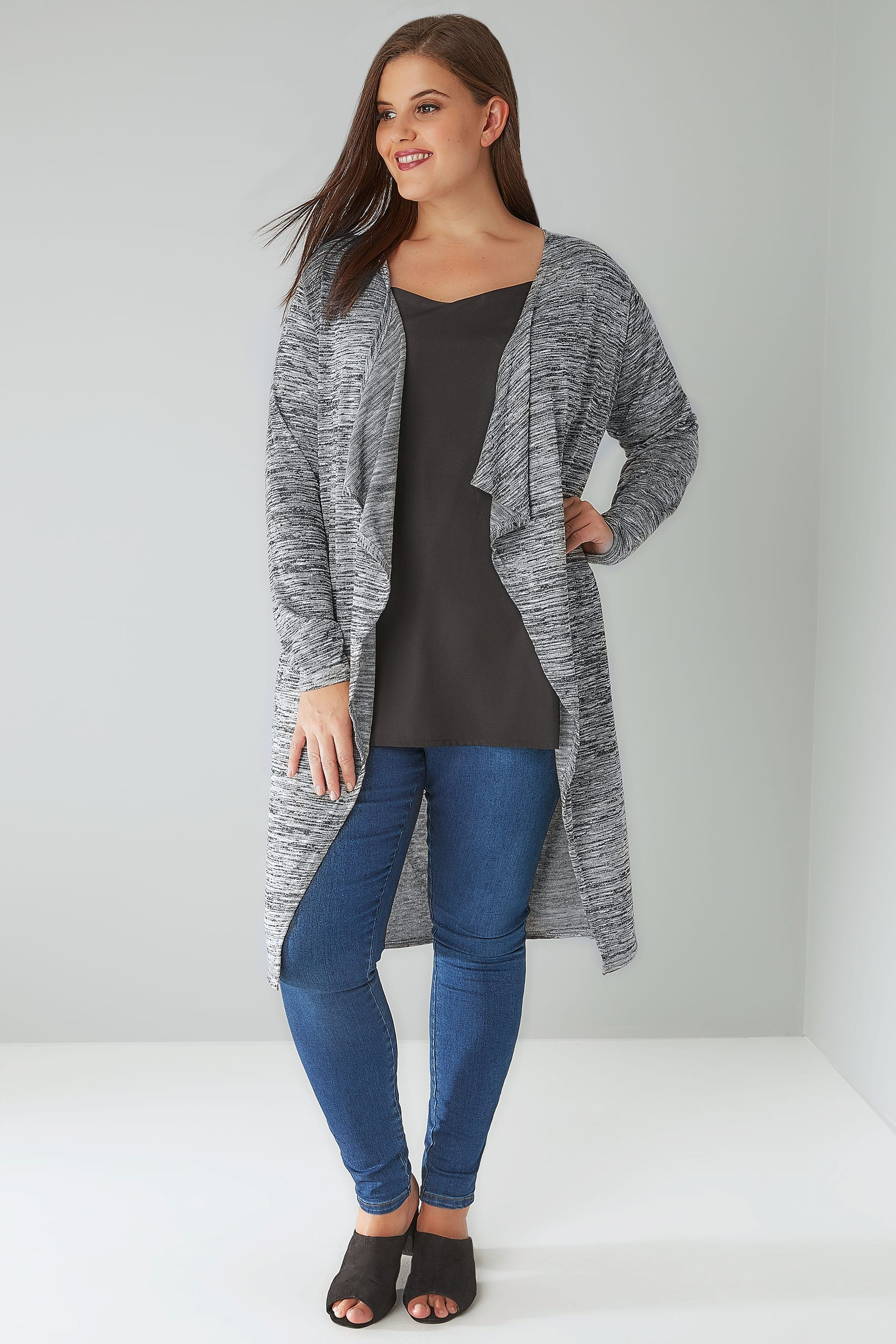 Grey Marl Space Dye Longline Waterfall Cardigan Plus size 16 to 36