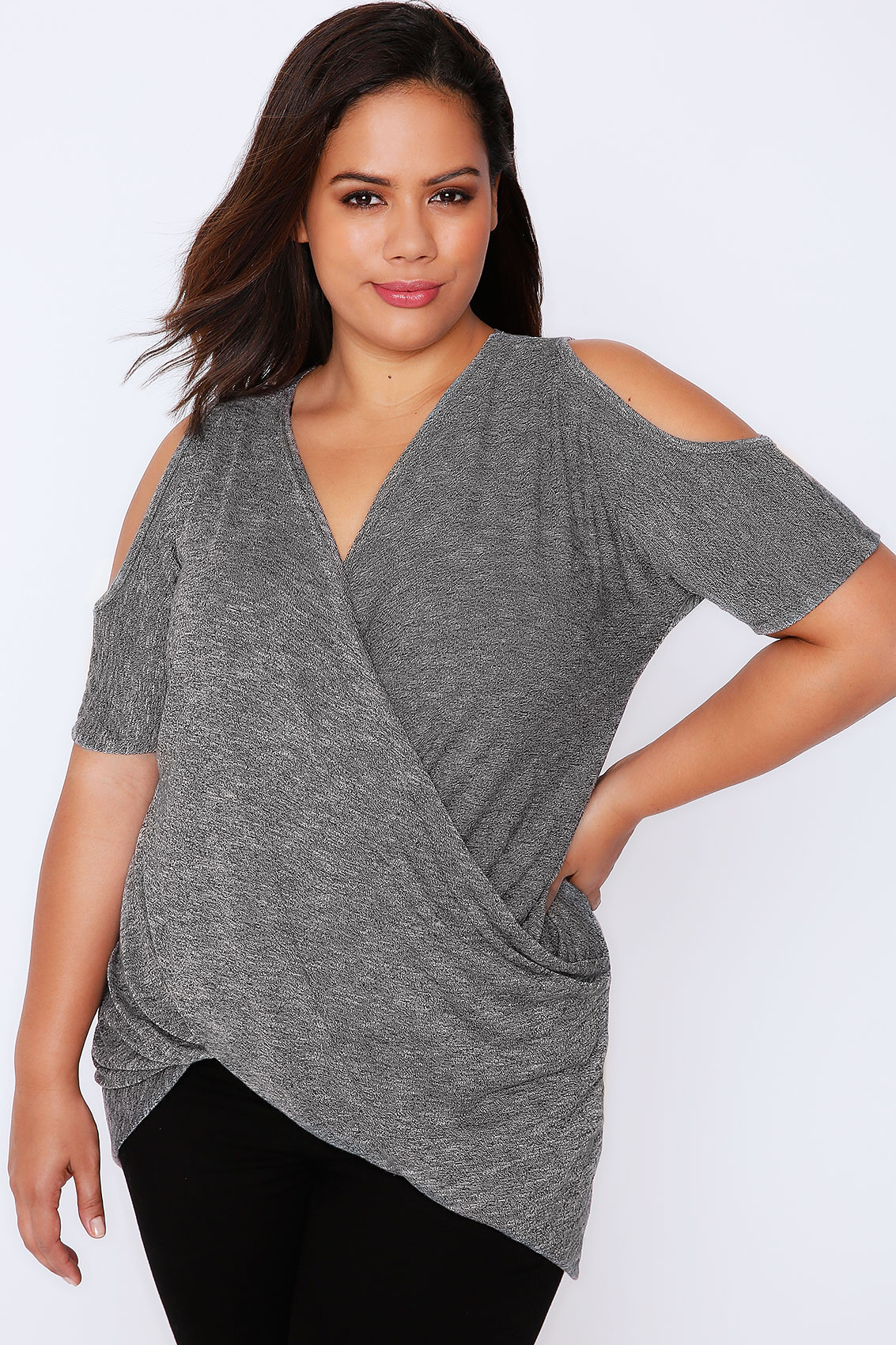 Grey Marl Wrap Front Top With Cold Shoulder Plus Size 16 To 36