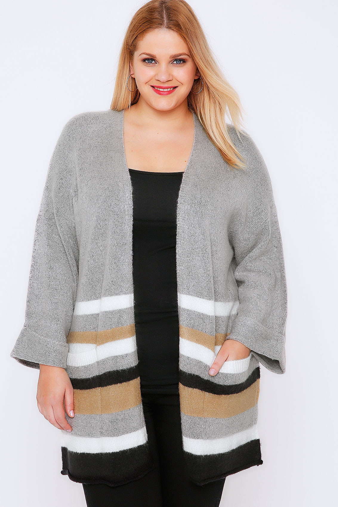 Grey & Multi Stripe Boucle Longline Cardigan Plus Size 16 to 32