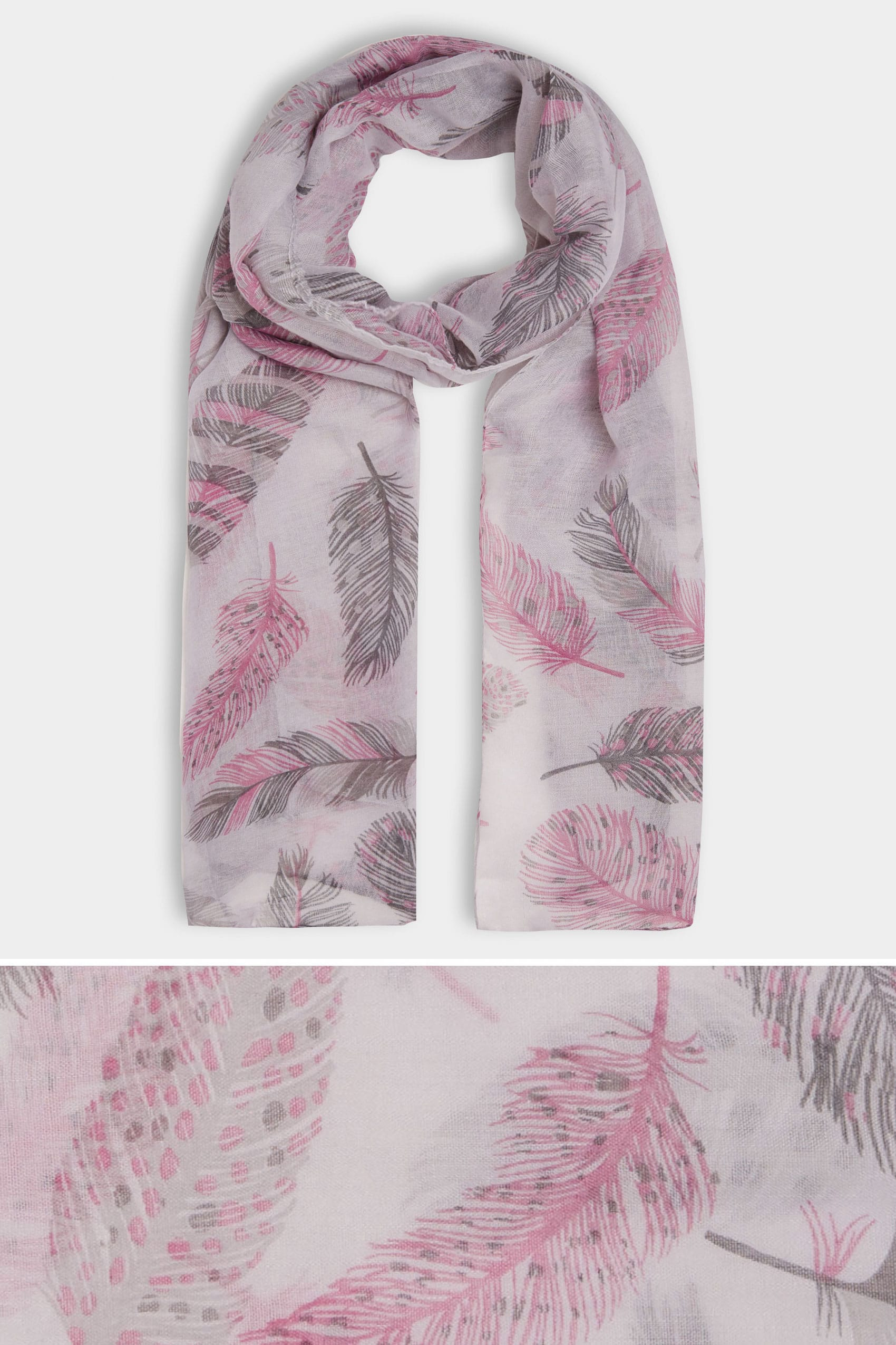 Grey And Pink Living Room Decor: Grey & Pink Feather Print Scarf