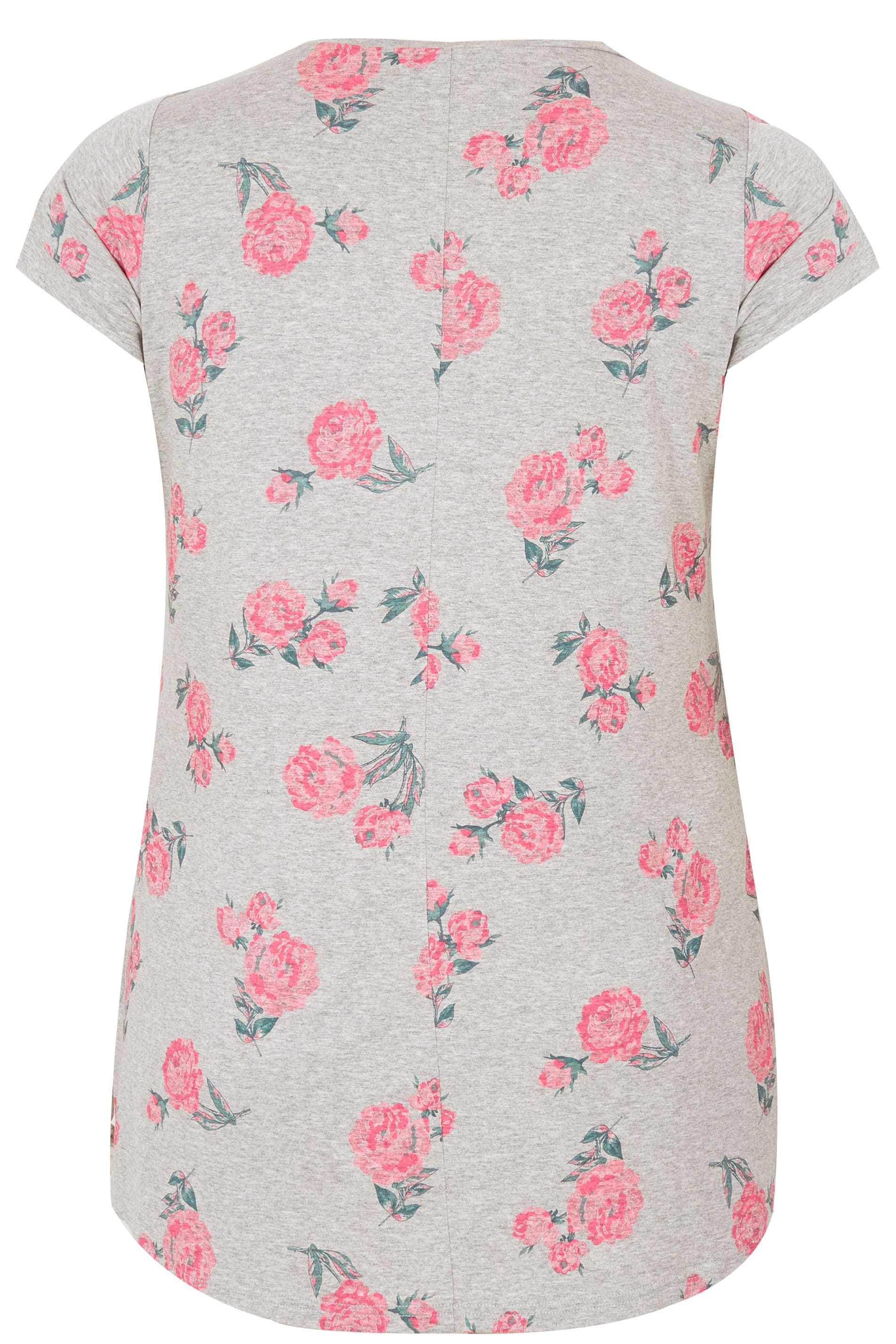 Grey pink foil rose print t shirt plus size 16 to 36 for Quick print t shirts