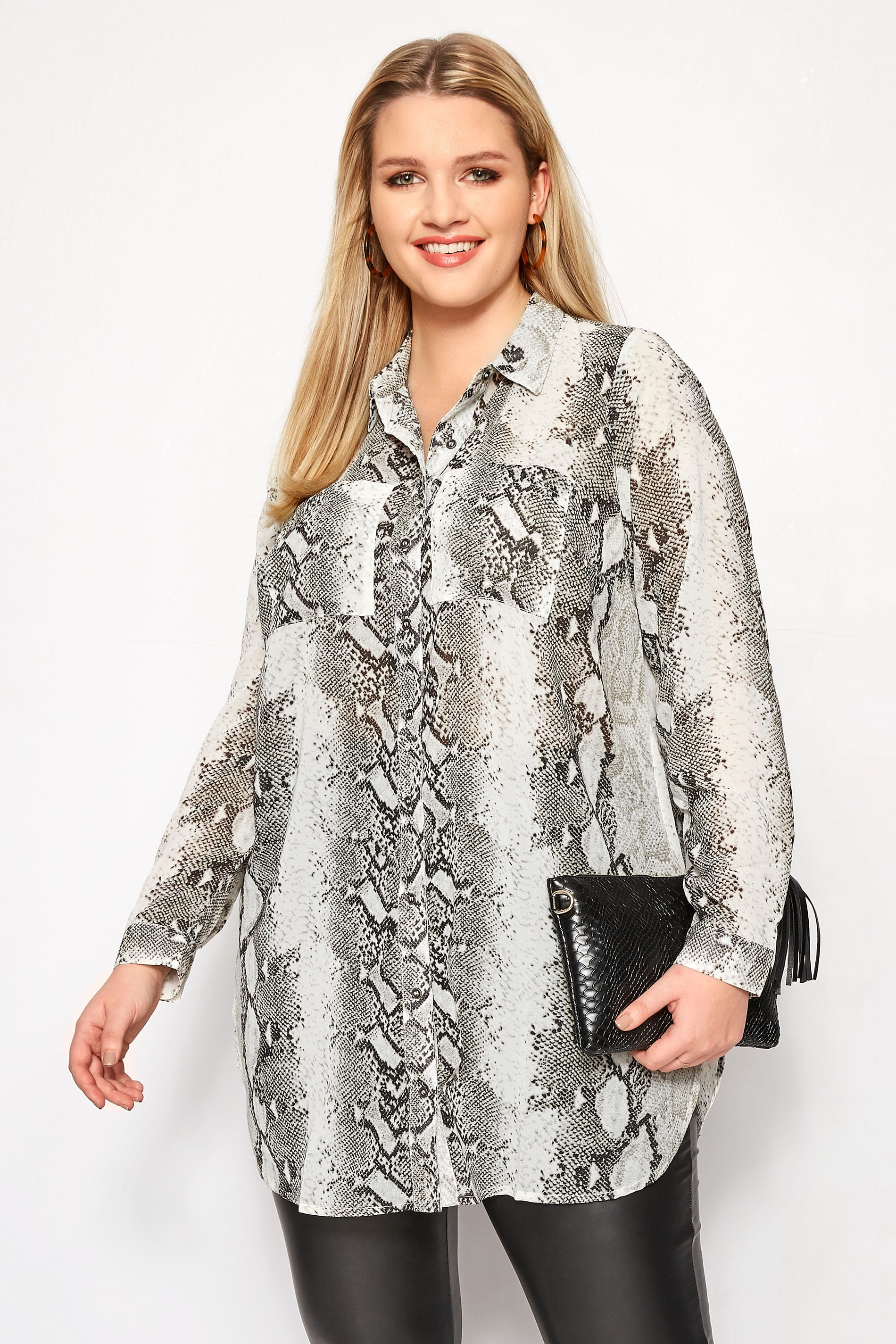 Grey Snake Print Longline Shirt Plus Size 16 To 36