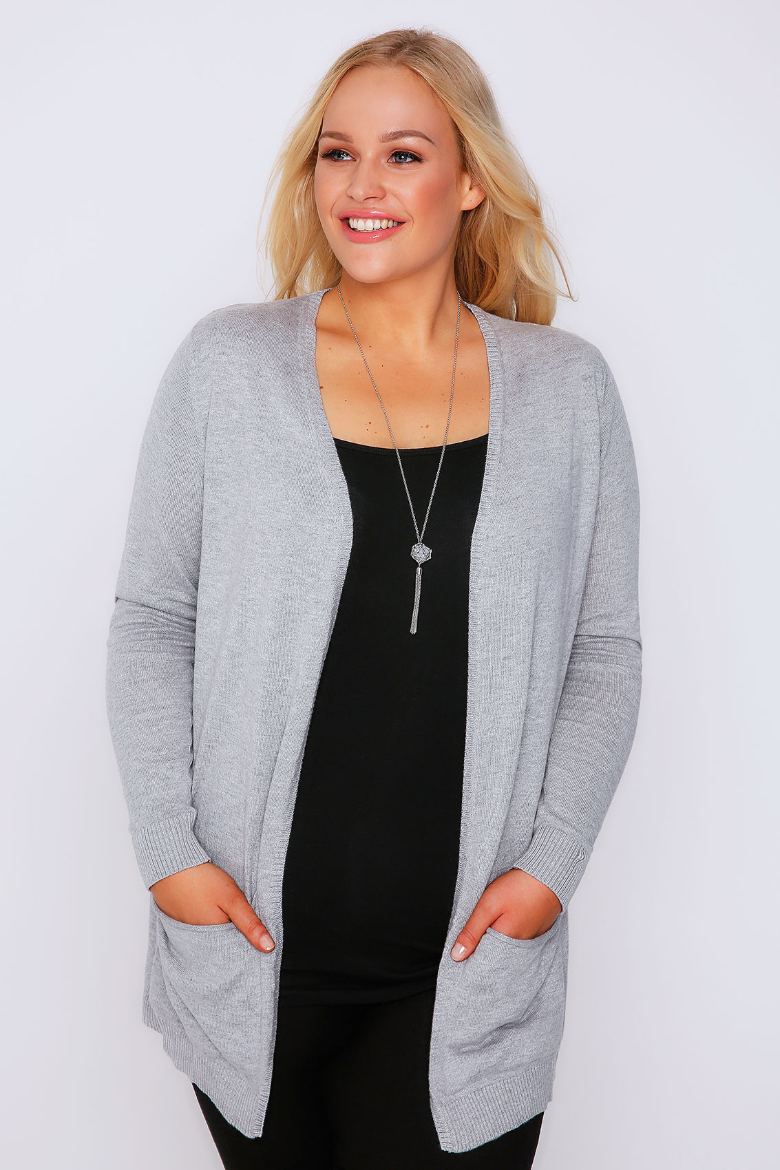 Grey Soft Knit Cardigan With Slouch Pockets Plus Size 16 to 36