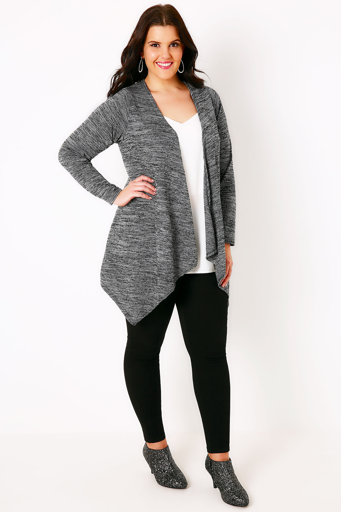 Grey Sparkle Cardigan With Waterfall Front, Plus size 16 to 36