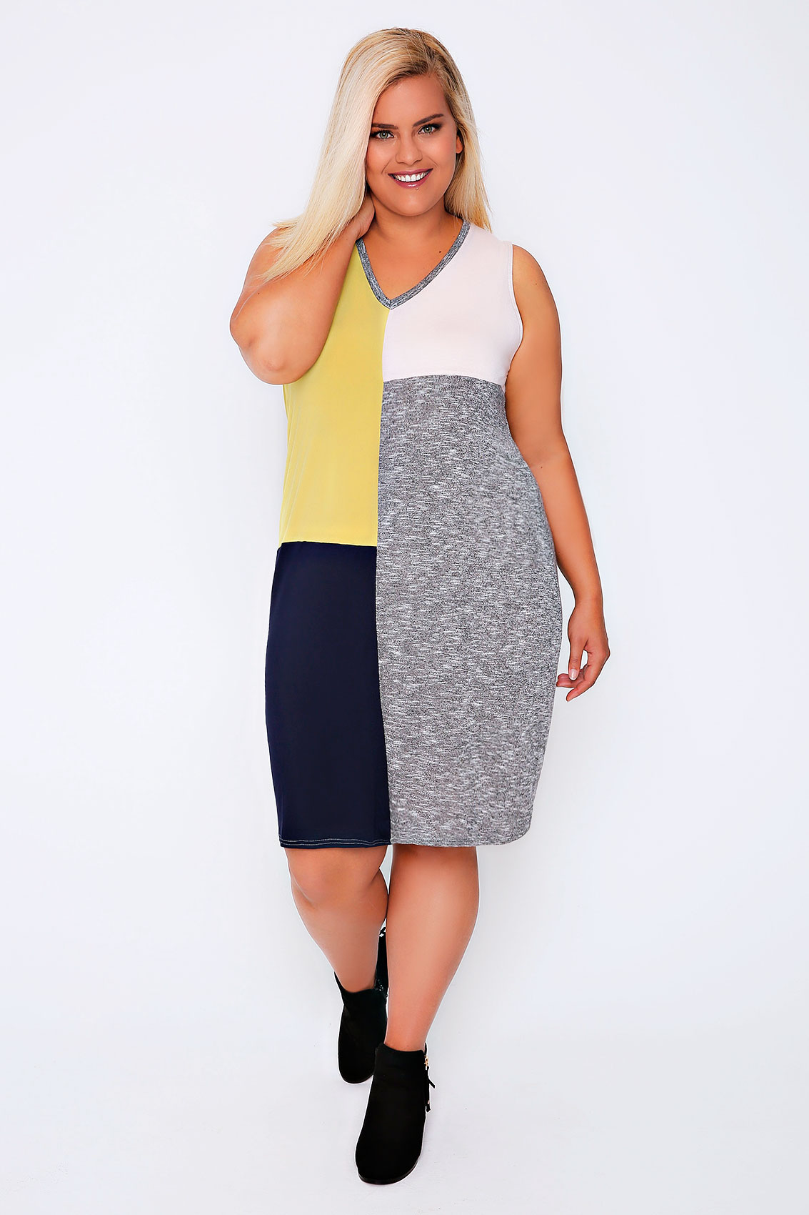 grey marl yellow pink navy colour block sleeveless shift dress plus size 16 18 20 22 24 26 28 3. Black Bedroom Furniture Sets. Home Design Ideas