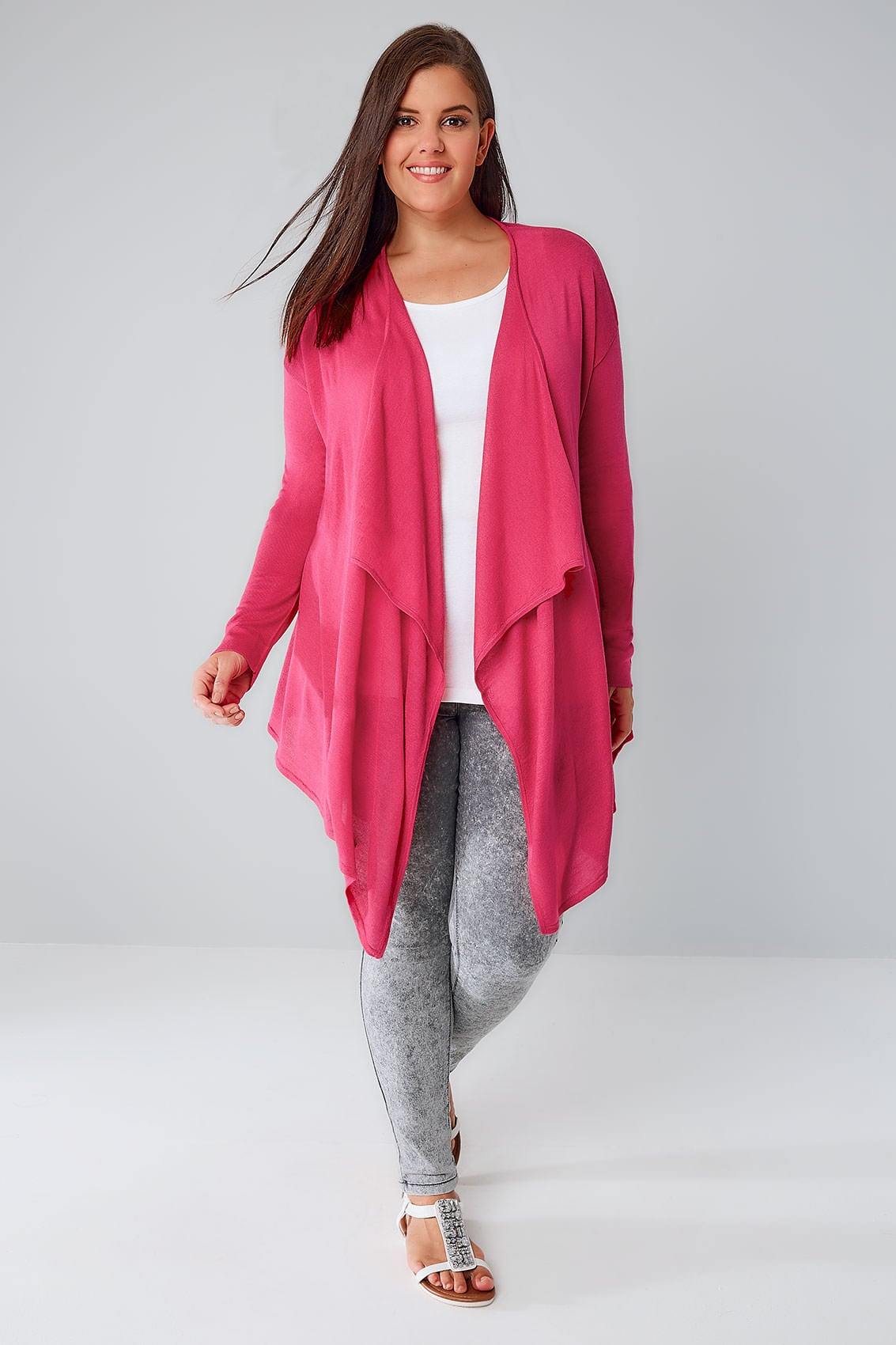 hot cardigans hot pink fine knit waterfall cardigan plus size 16 to 36