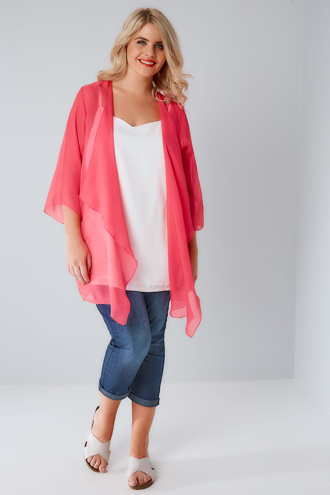 Hot Pink Textured Chiffon Kimono With Waterfall Front plus size 16 ...