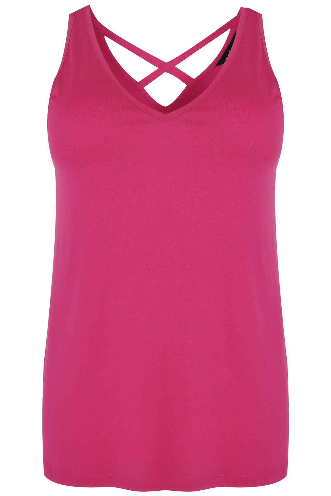 Hot pink v neck vest top with cross over back detail plus for Vest top template