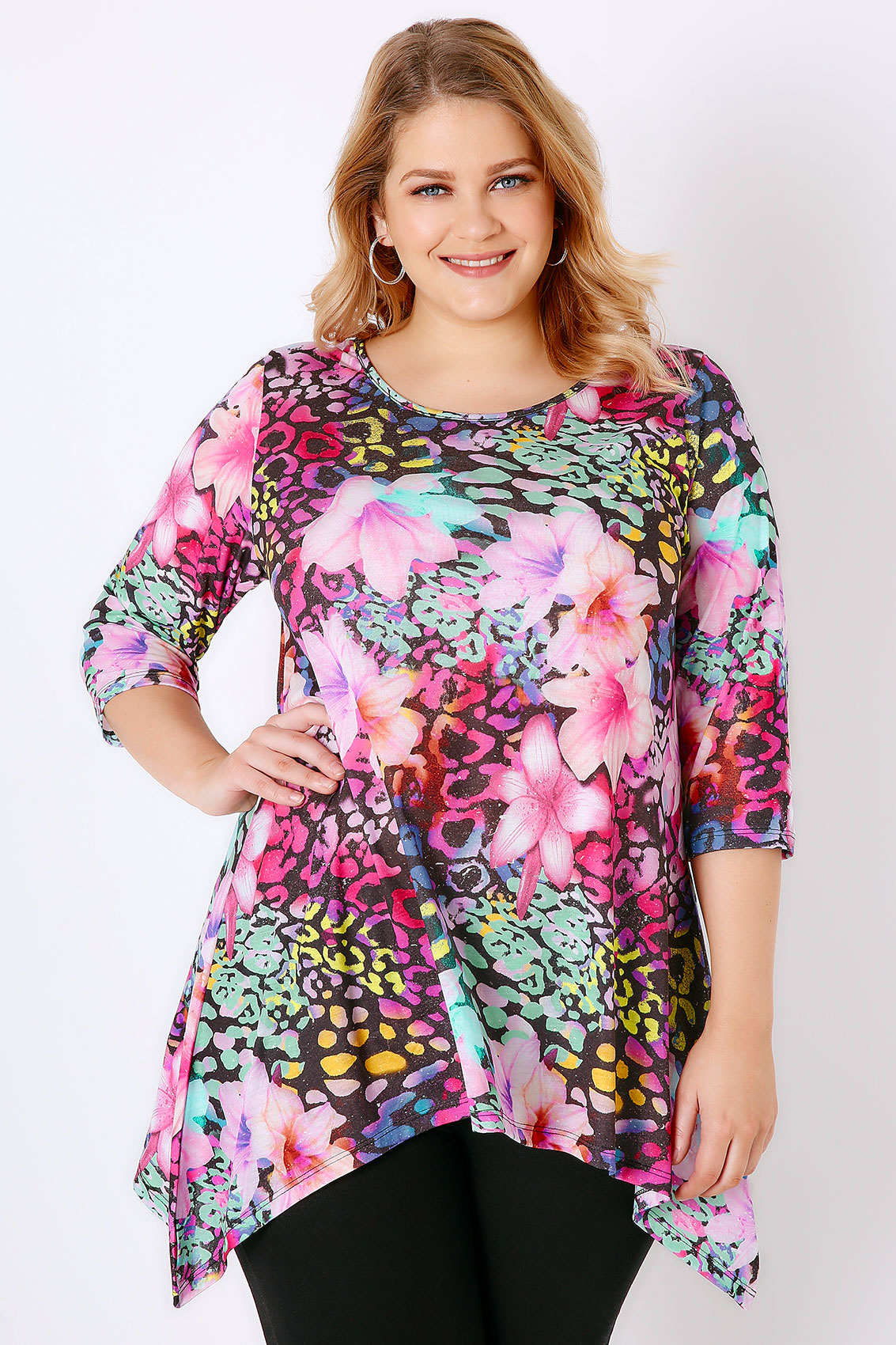 pink multi tropical print jersey top with hanky hem plus size 16 to 36. Black Bedroom Furniture Sets. Home Design Ideas