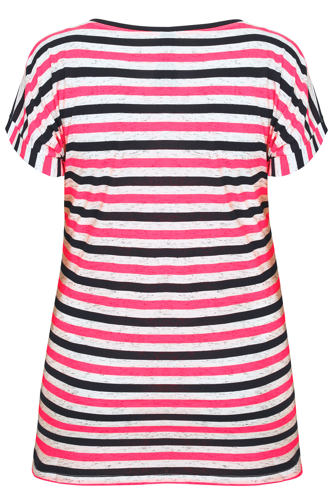 Pink White Navy Stripe T Shirt With Short Turn Back