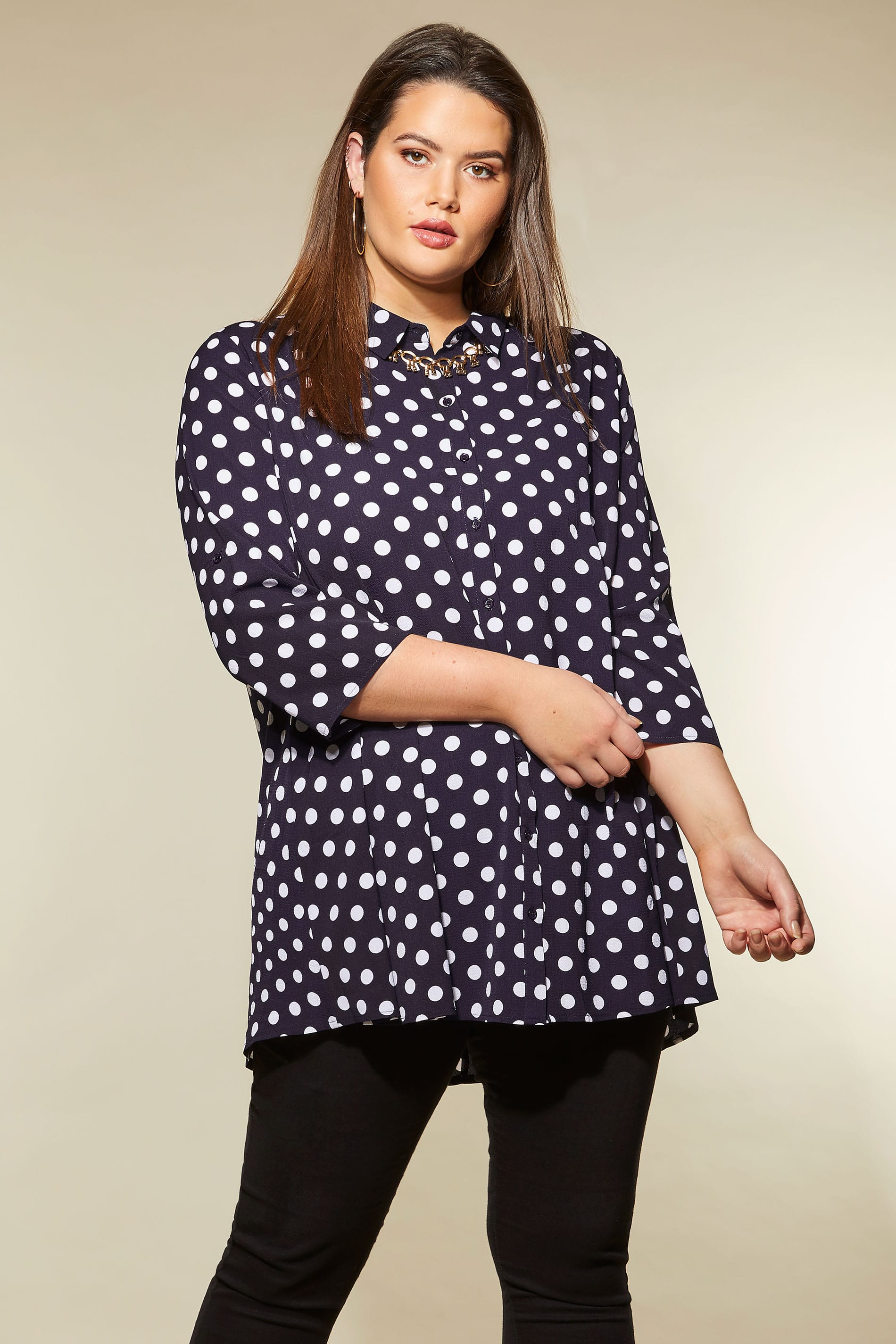 izabel curve navy polka dot shirt plus size 16 to 26. Black Bedroom Furniture Sets. Home Design Ideas