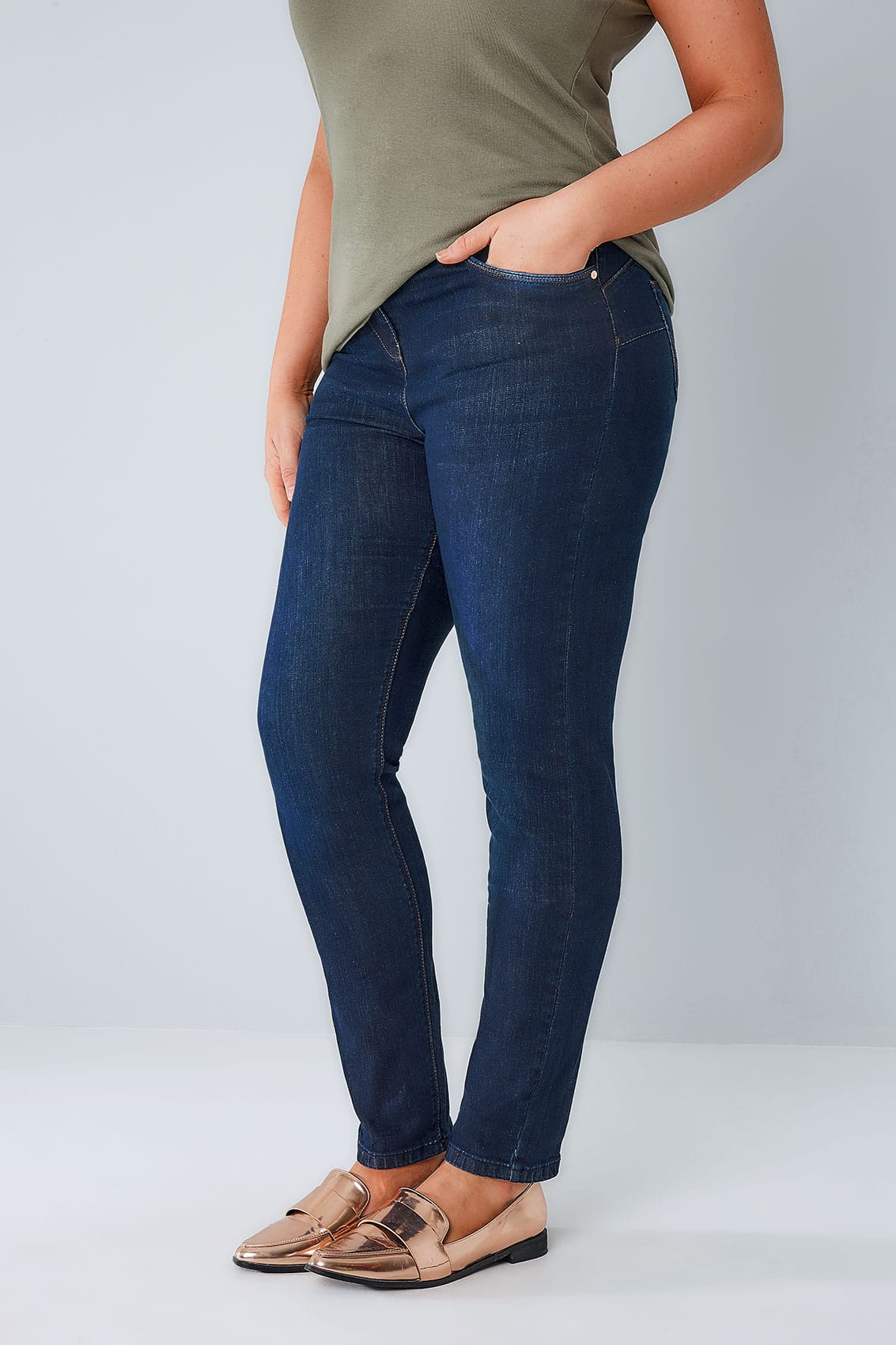 Indigo Blue Skinny Shaper Ava Jeans, Plus Size 14 To 28-1464