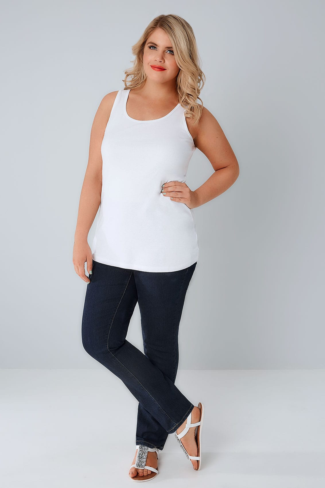 Indigo Pull On Straight Leg Jeans Plus Size 14 To 28