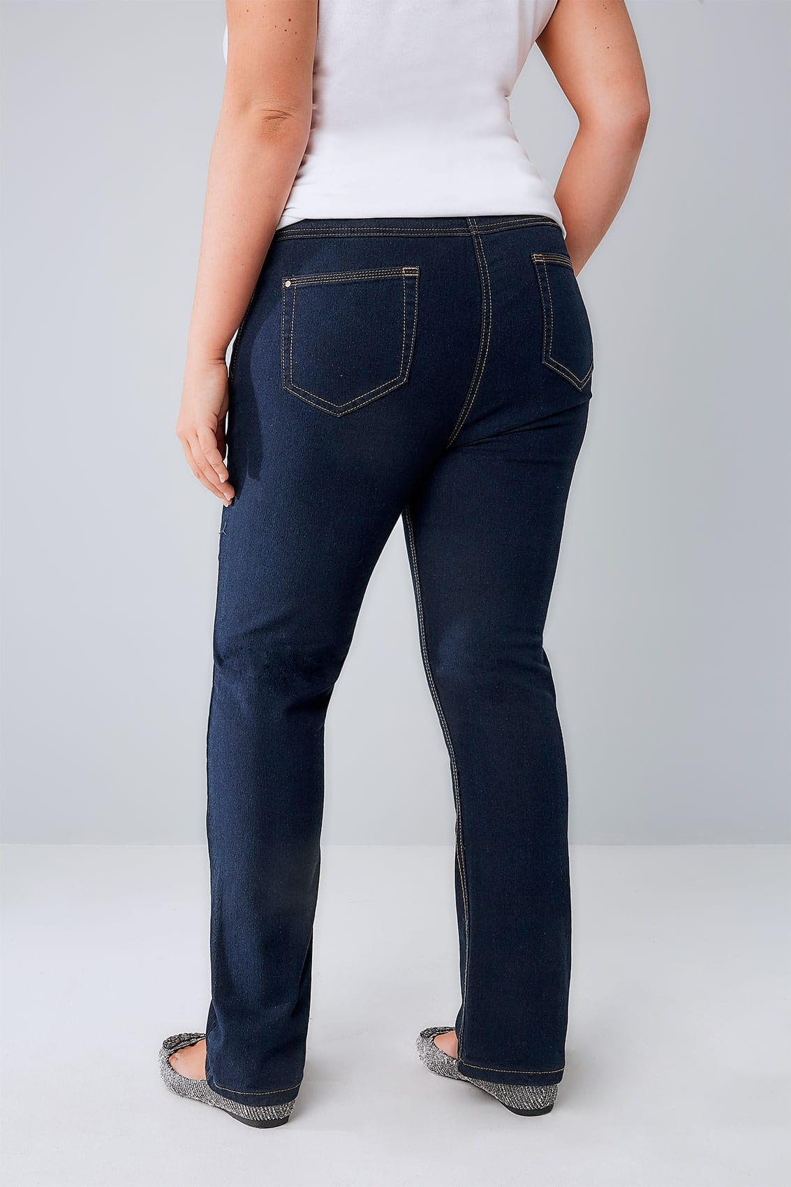 Indigo Straight Leg 5 Pocket Denim Ruby Jeans Plus Size 14