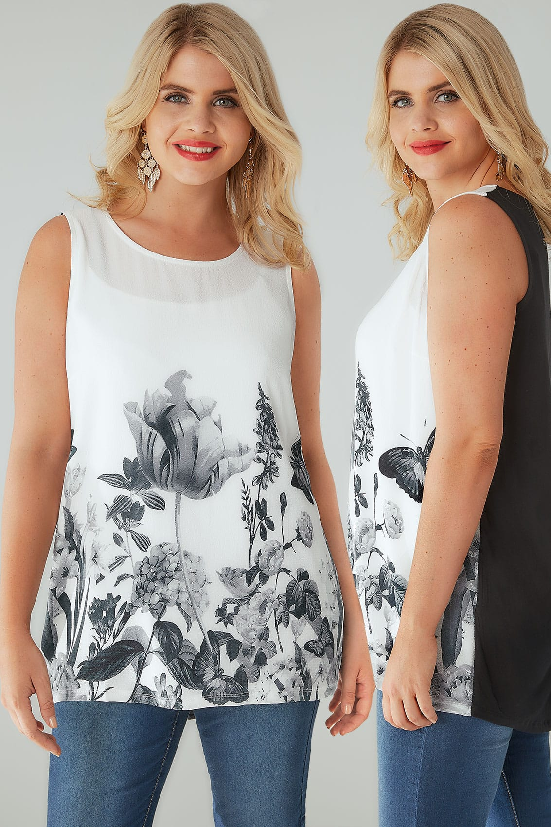 Rooms: Ivory Floral Sleeveless Top With Studs, Plus Size 16 To 36