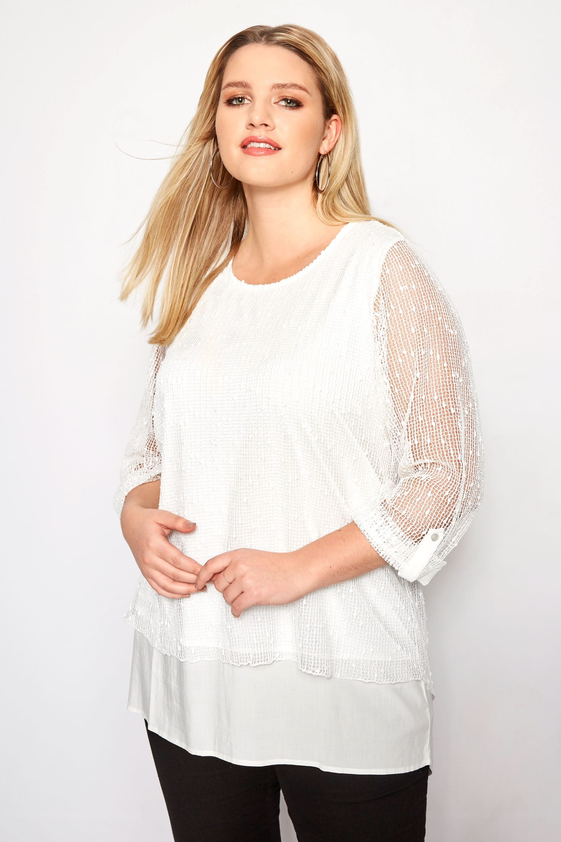 Plus Size Ivory Layered Crochet Top  Sizes 16 To 36 -2251