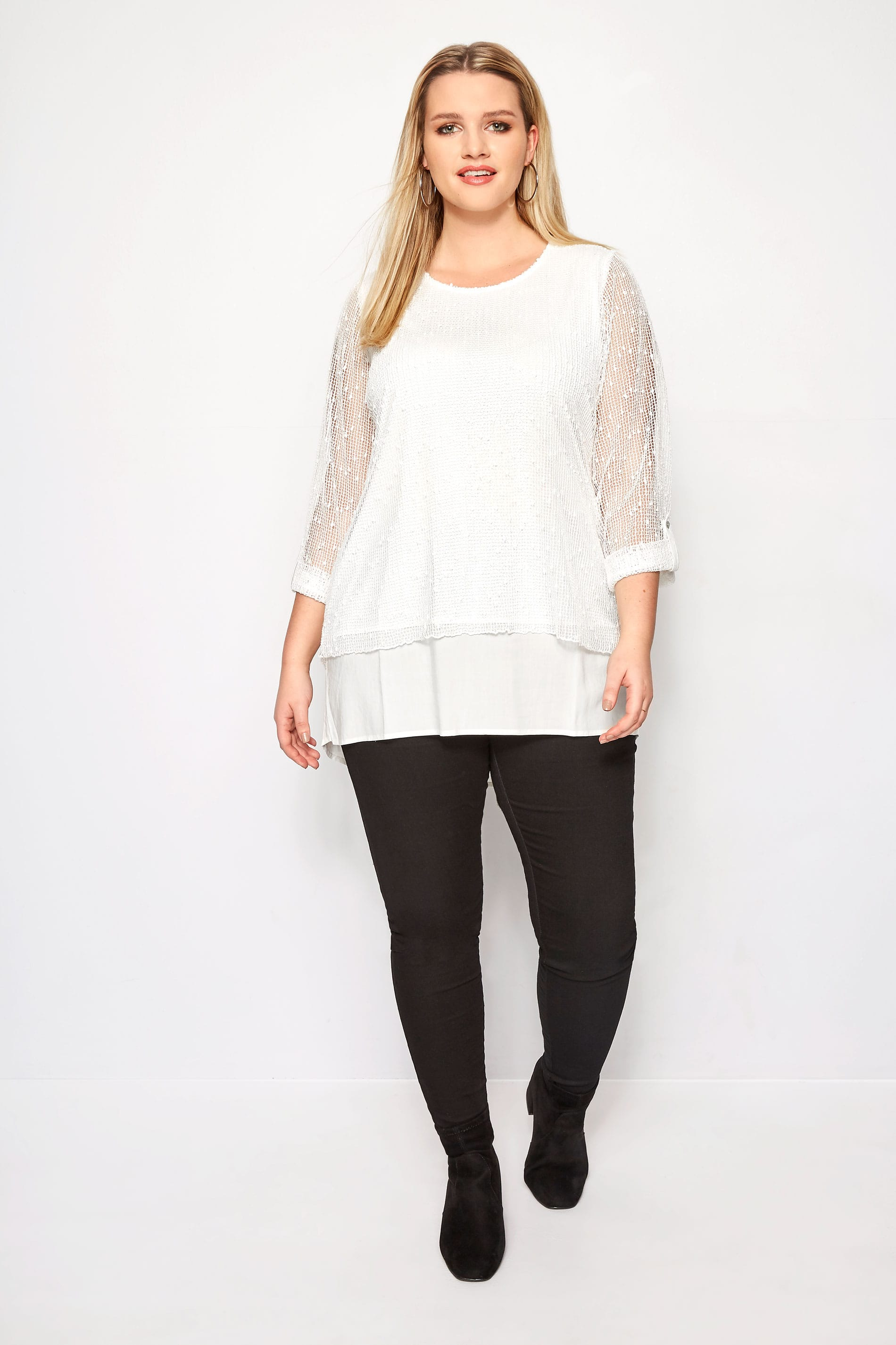 Rooms: Plus Size Ivory Layered Crochet Top