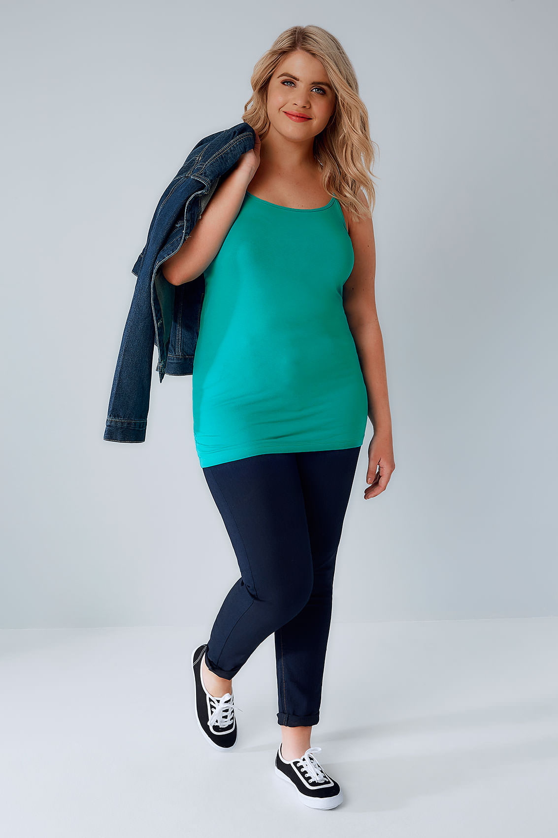 Jade Green Cami Vest Top, Plus Size 16 To 36-4247