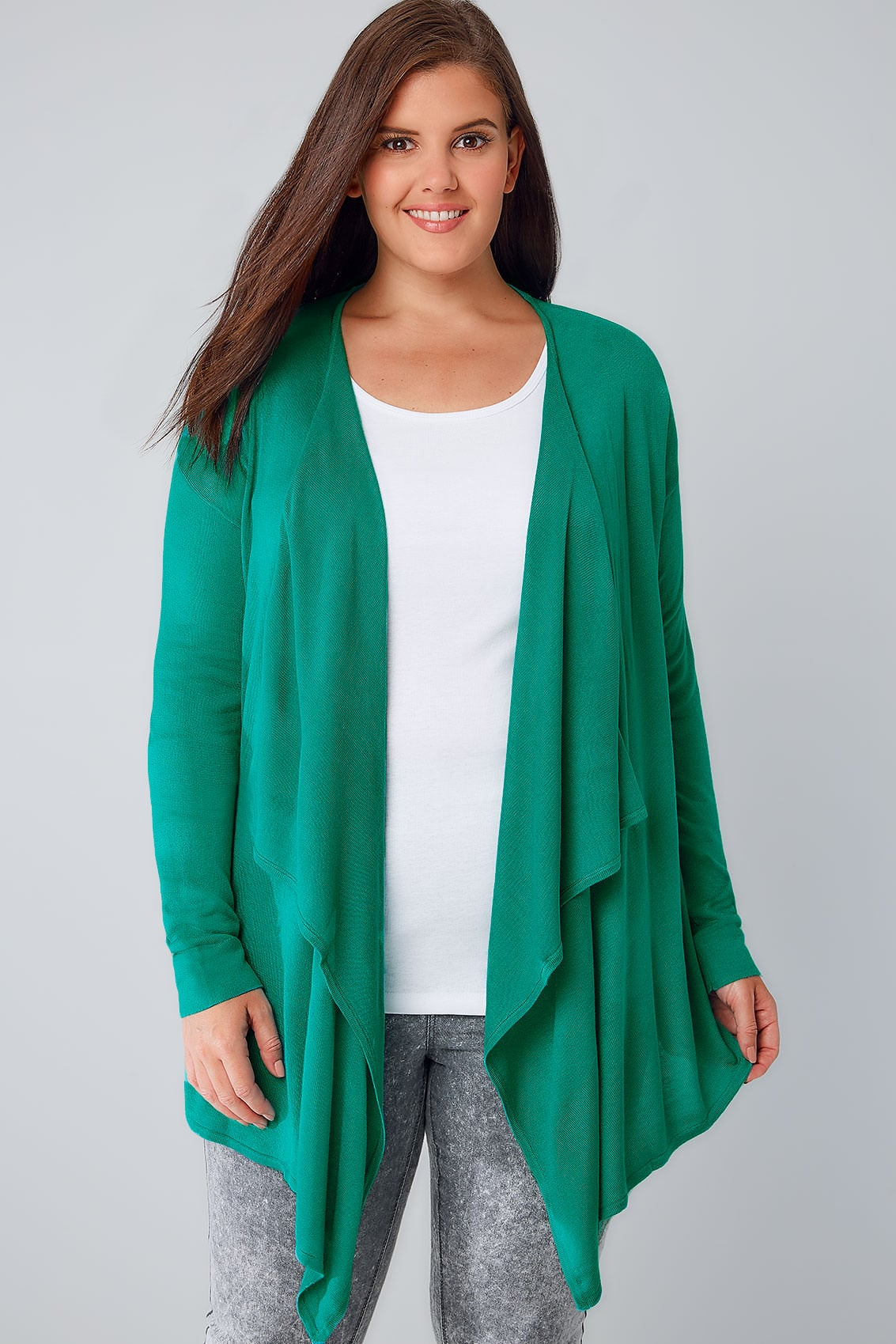 Jade Green Fine Knit Waterfall Cardigan, Plus size 16 to 36