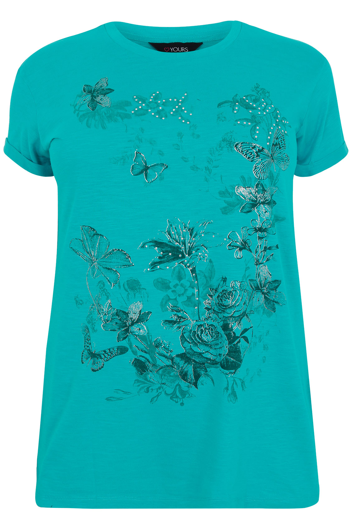 Jade green floral butterfly print t shirt plus size 16 to 32 for T shirt print dimensions