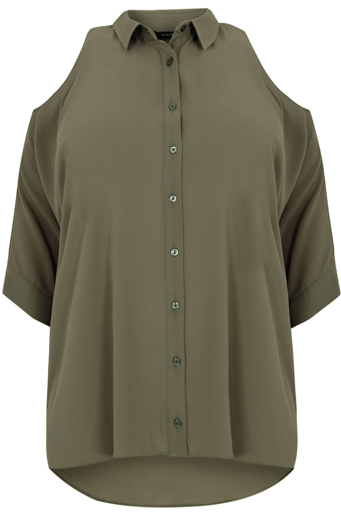 Khaki Cold Shoulder Shirt Plus Size 16 To 36