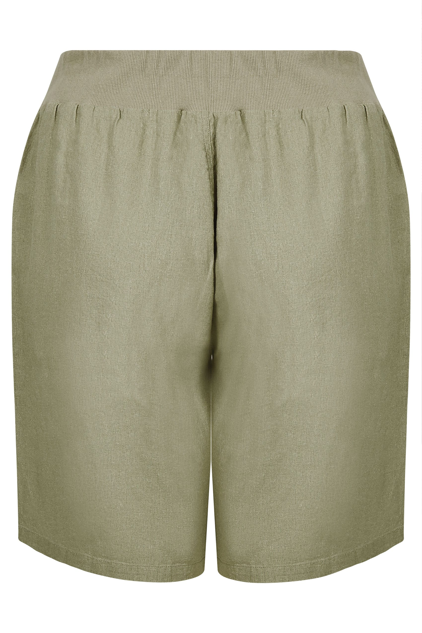 Khaki Linen Mix Pull On Shorts With Pockets, plus size 16 ...