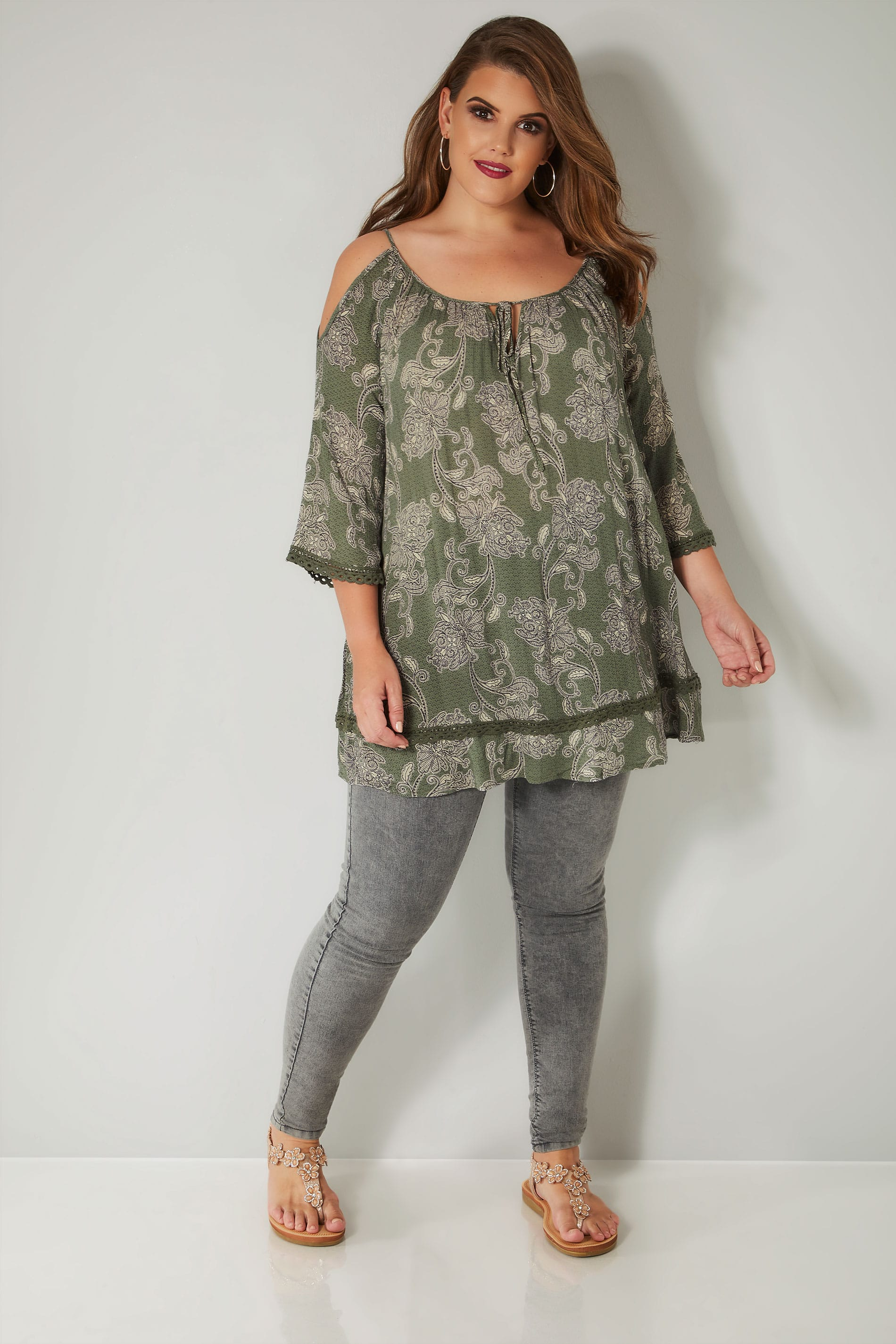 5b64fcb3ceb929 Khaki Paisley Print Top With Cold Shoulder Cut Outs