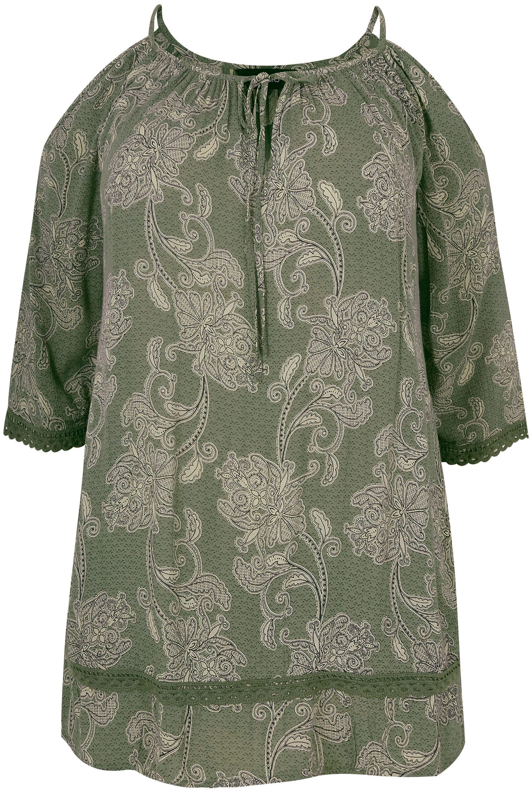 fbb7ce633b27e3 Khaki Paisley Print Top With Cold Shoulder Cut Outs