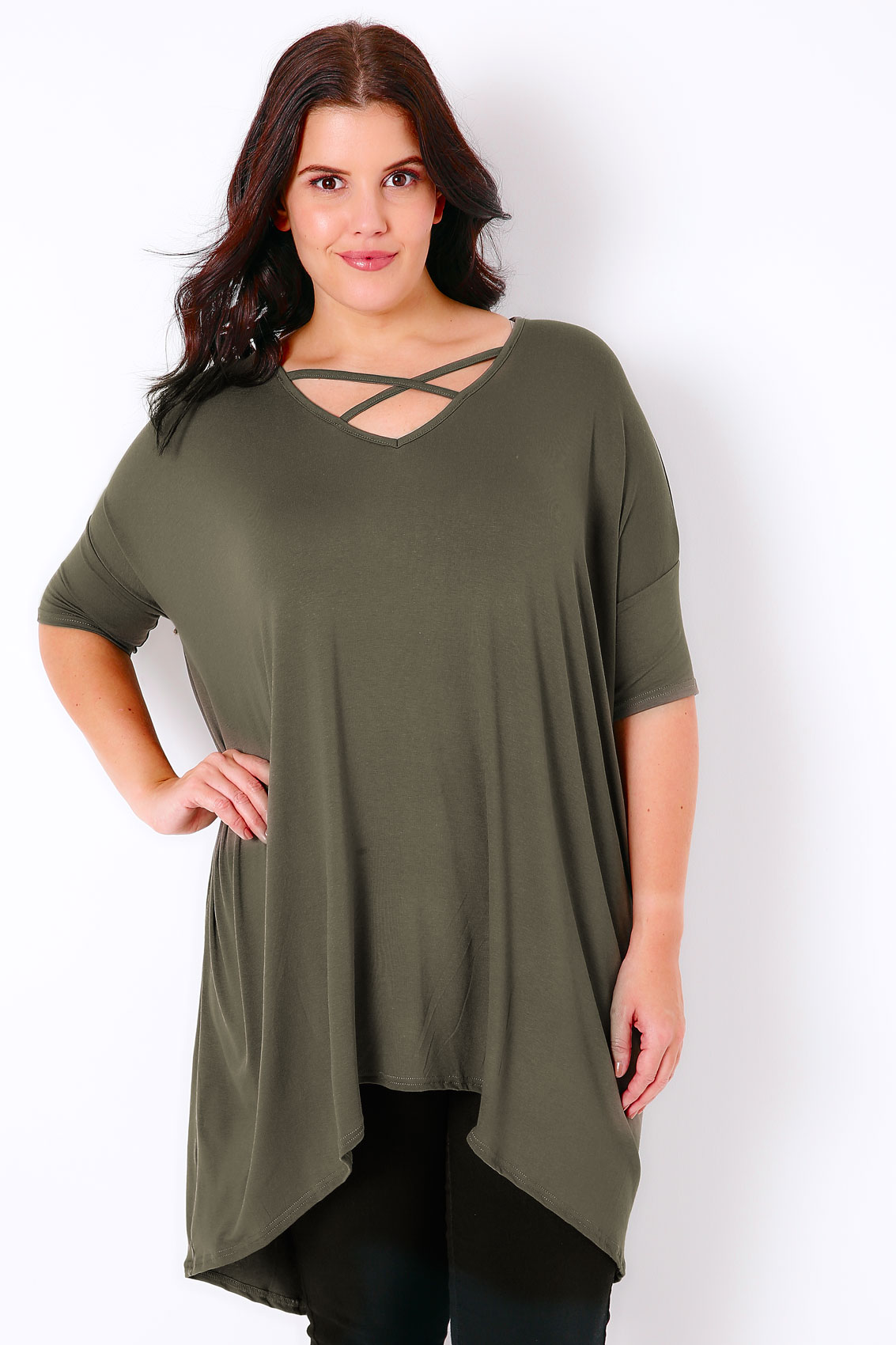 khaki top with cross over front extreme dipped hem plus size 16 to 36. Black Bedroom Furniture Sets. Home Design Ideas