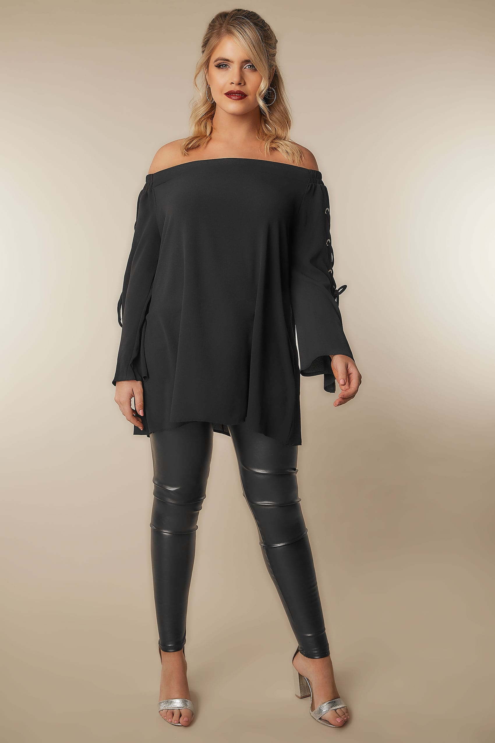 0ddde3ae42492e LIMITED COLLECTION Black Bardot Top With Lace Detailing