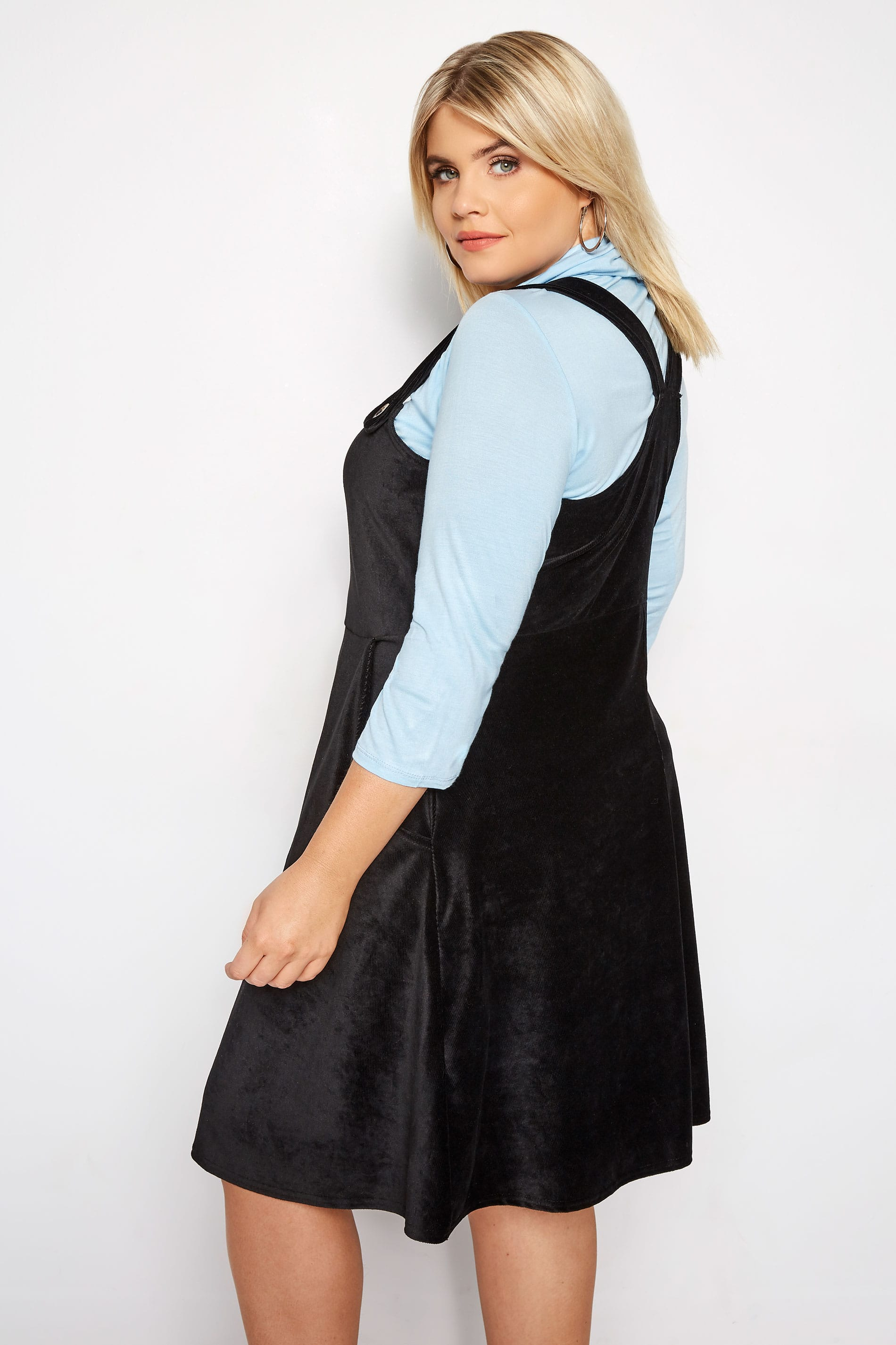 6a23d4e0486 Plus Size LIMITED COLLECTION Black Jersey Corduroy Pinafore Dress ...