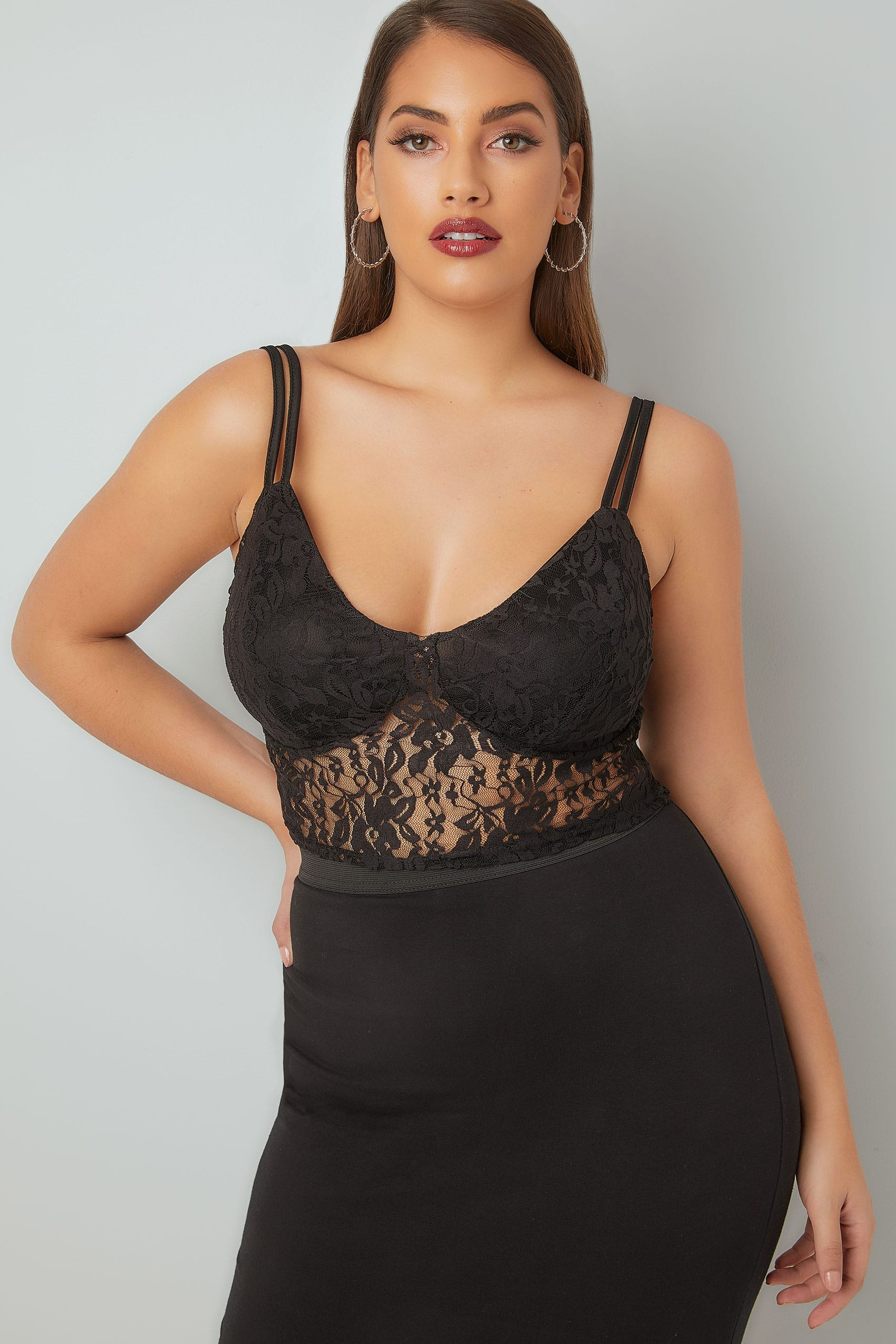 LIMITED COLLECTION Black Lace Bralette, Plus size 16 to 32