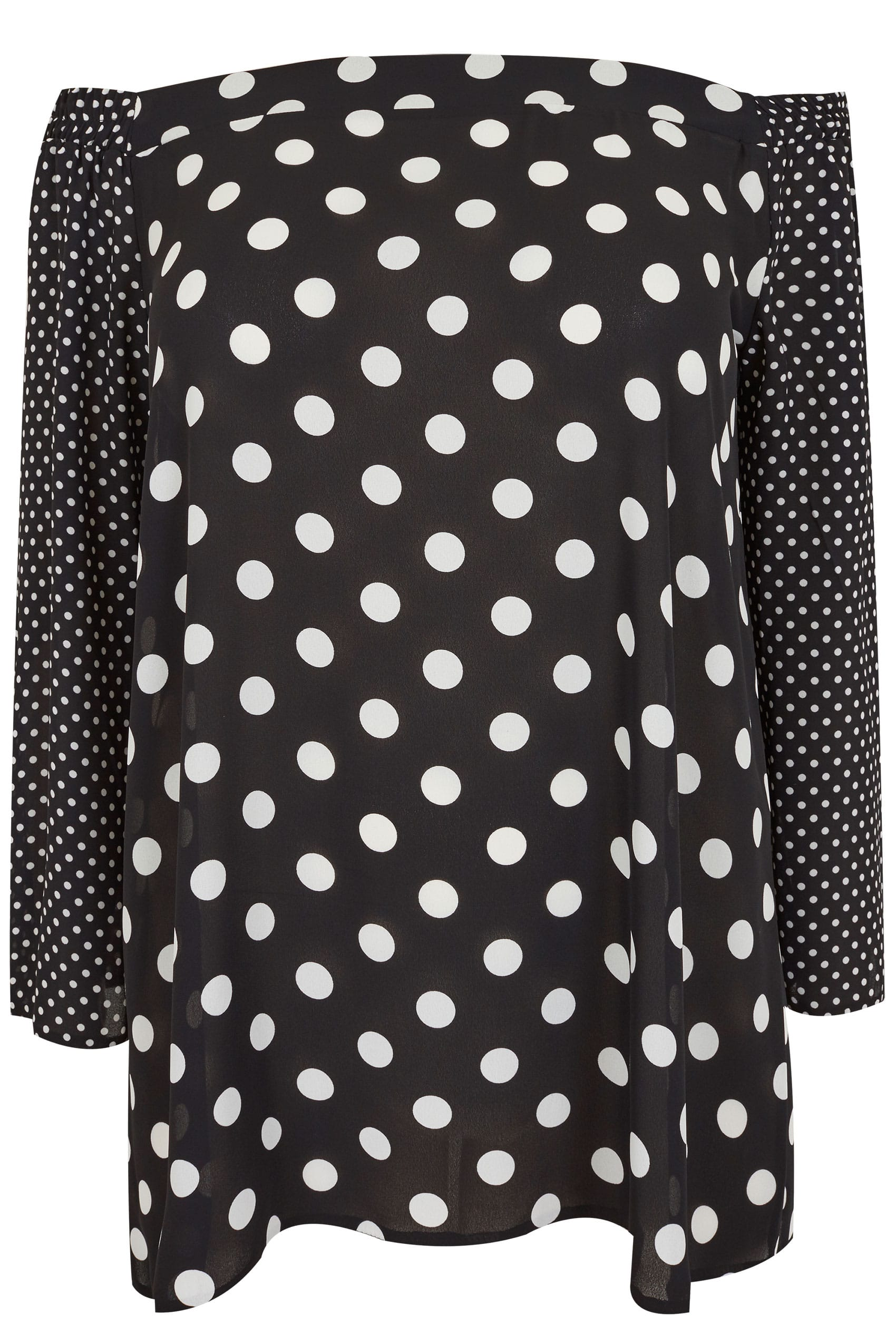 LIMITED COLLECTION Black & White Polka Dot Bardot Top ...