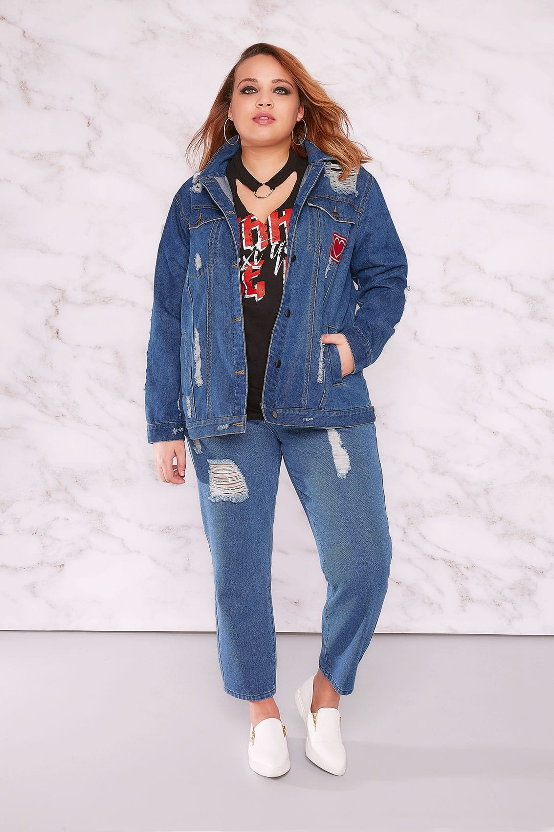 e11cd399564 LIMITED COLLECTION Blue Distressed Mom Jeans