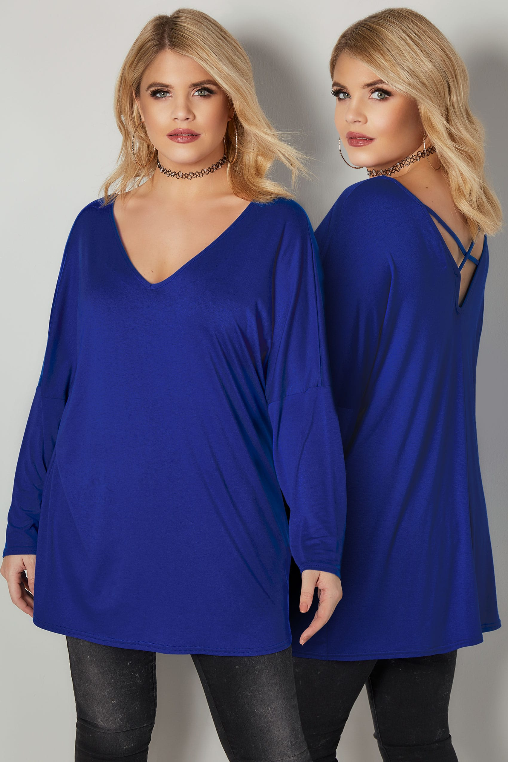 limited collection cobalt blue oversized top with cross over back plus size 16 to 32. Black Bedroom Furniture Sets. Home Design Ideas
