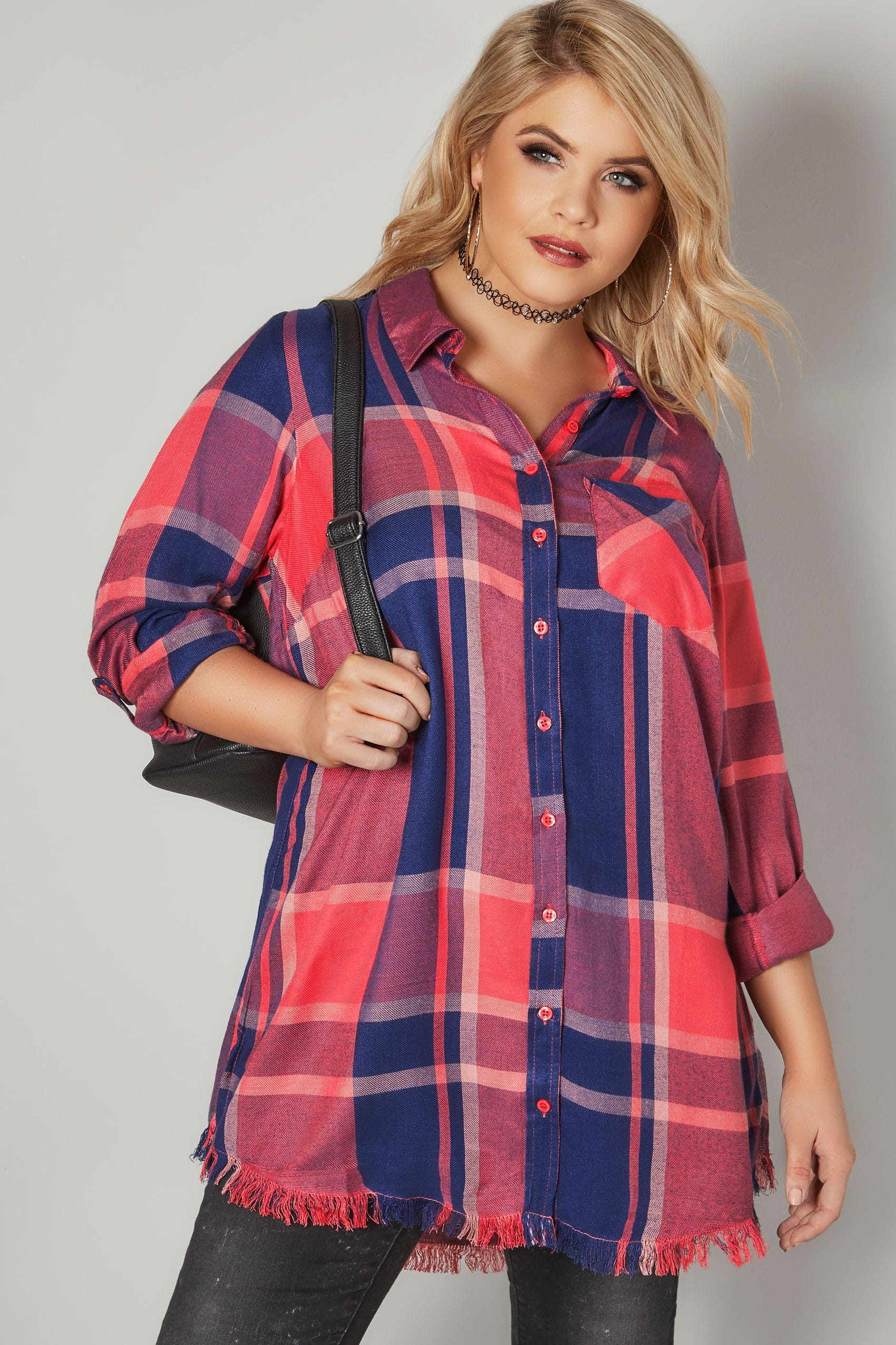 Limited Collection Coral Checked Shirt With Frayed Hem -2526