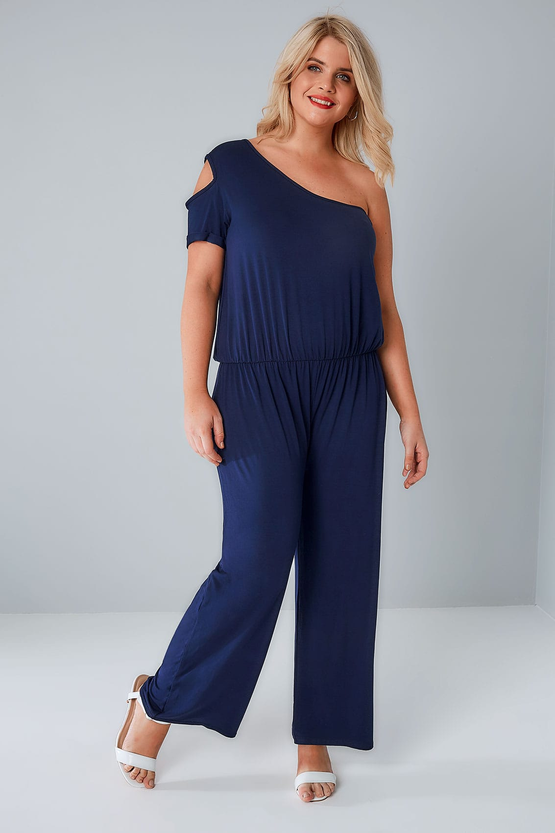 LIMITED COLLECTION Navy One Shoulder Jumpsuit, Plus size ...