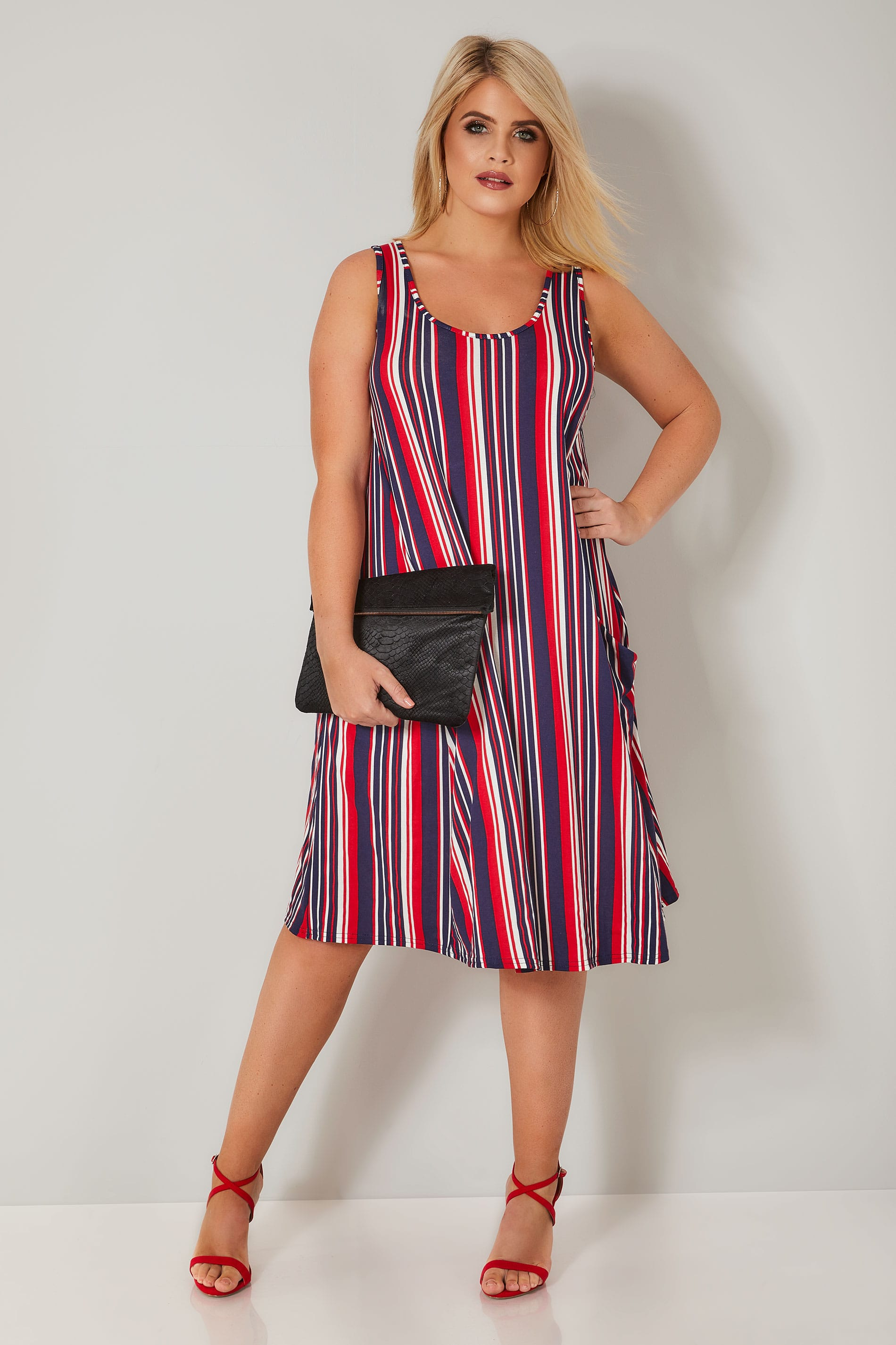 44920b279763 LIMITED COLLECTION Navy, Red & White Stripe Pocket Swing Dress, Plus ...