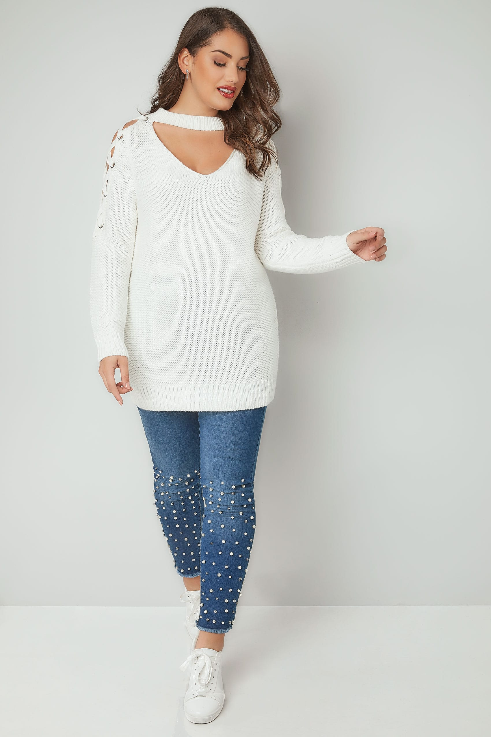 Home Design App Love It Or List It Limited Collection White Choker Jumper With Lace Sleeves