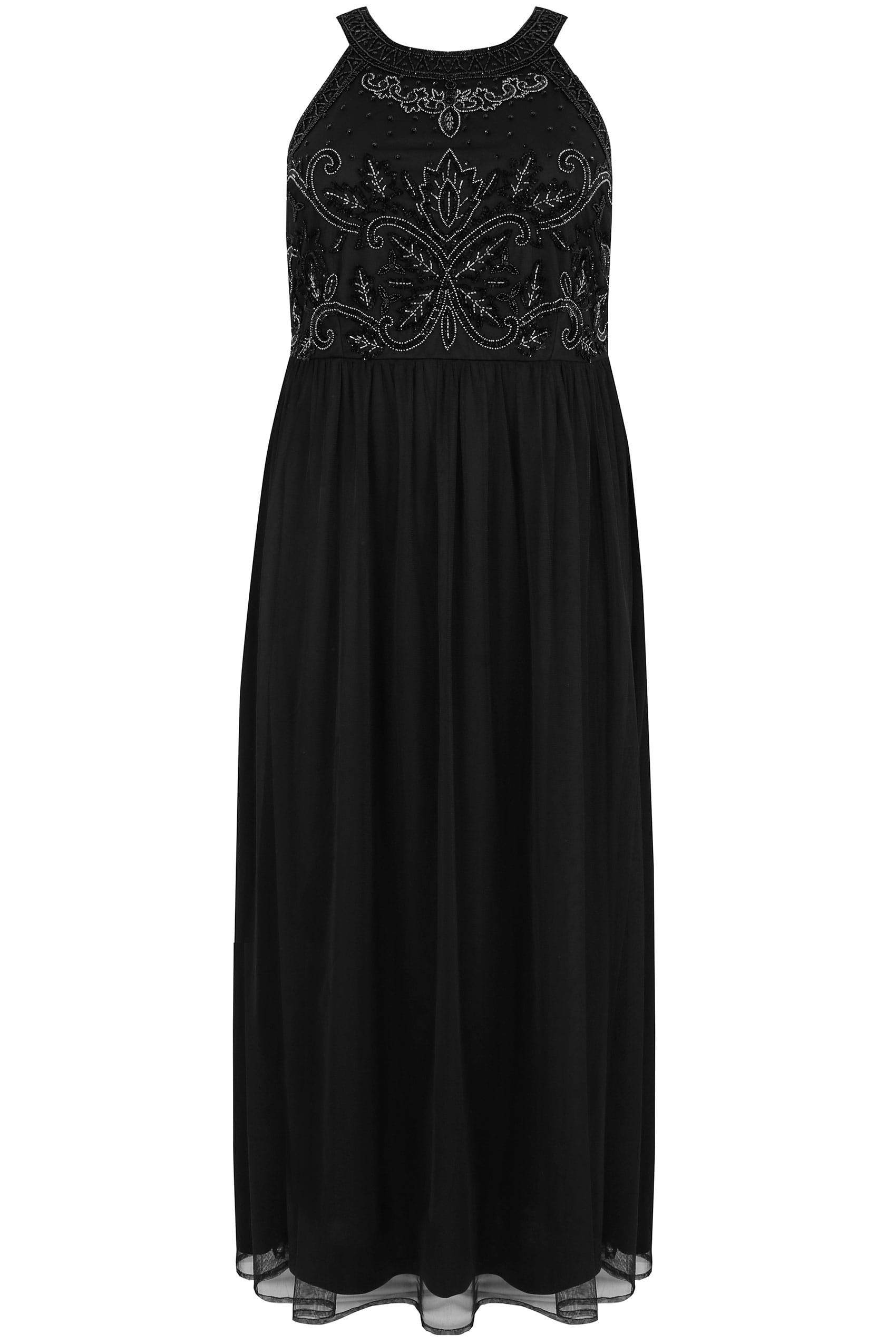 f4168e92ef2 LUXE Black High Neck Embellished Maxi Dress