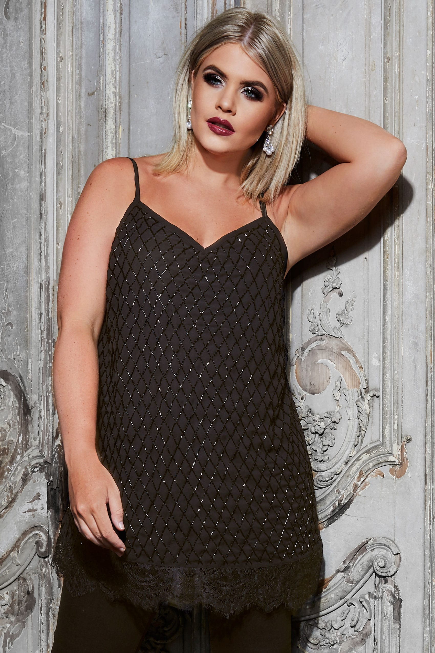 e5021834d787 LUXE Black Embellished Cami Top With Lace Hem, Plus size 16 to 32