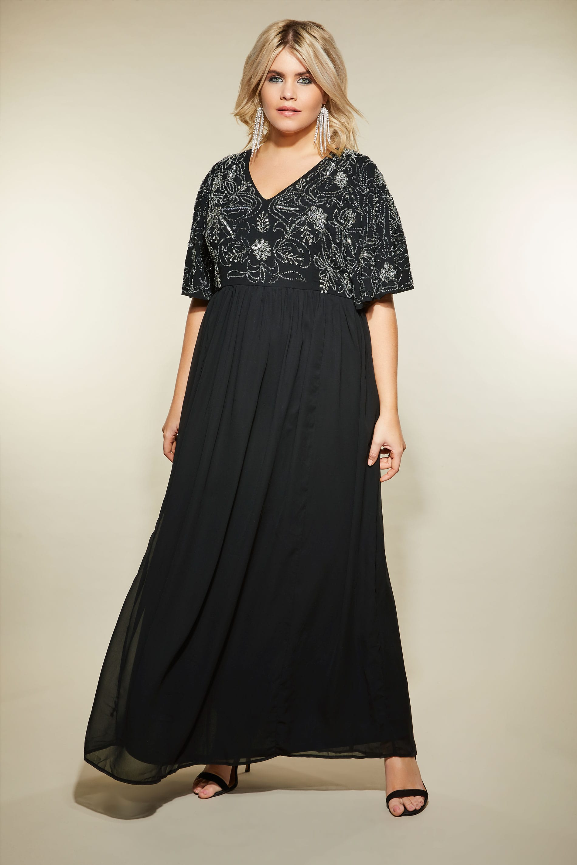 806dce9bc0e LUXE Black Embellished Maxi Dress
