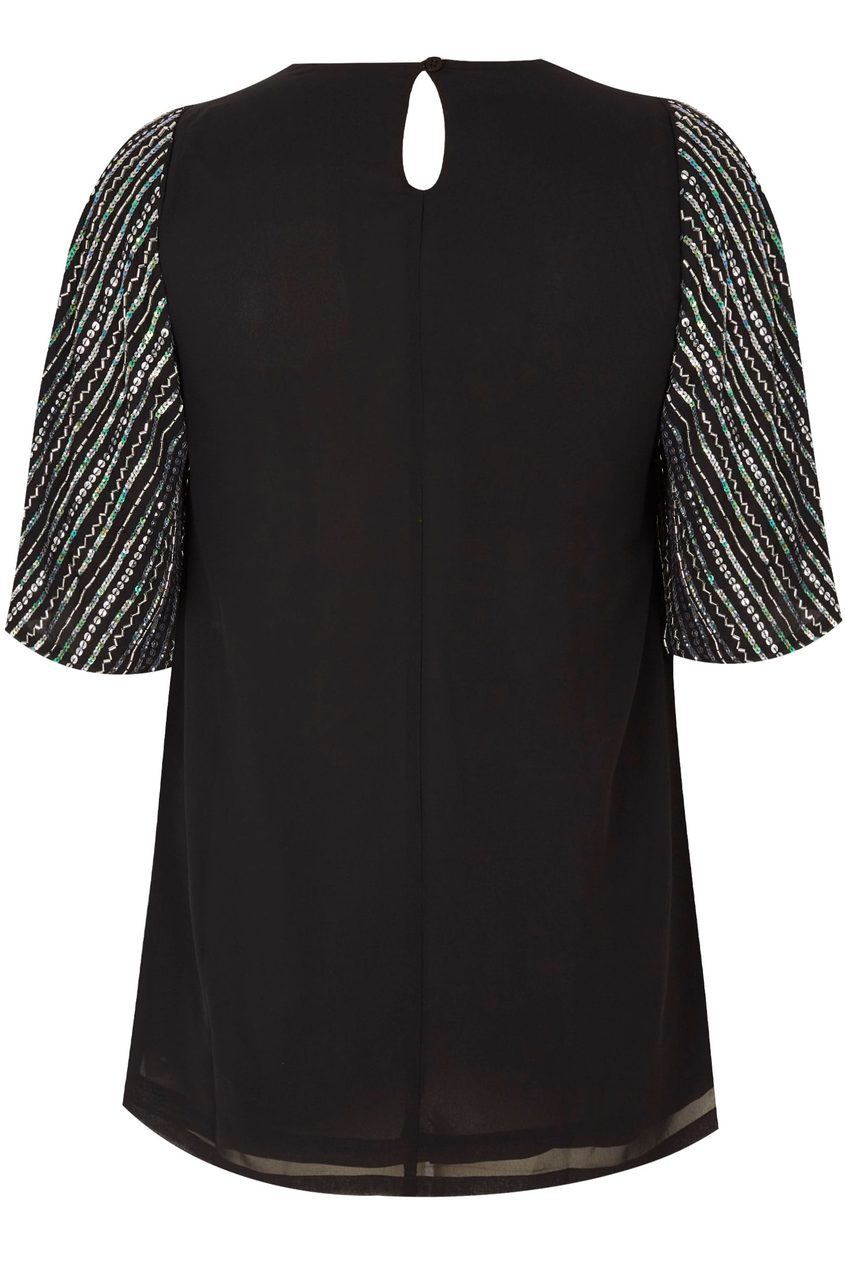 62430b41af LUXE Black Sequin Embellished Top With Kimono Sleeves