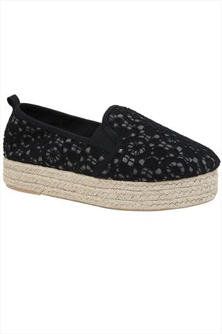 Black Crochet Flatform Espadrille In E Fit